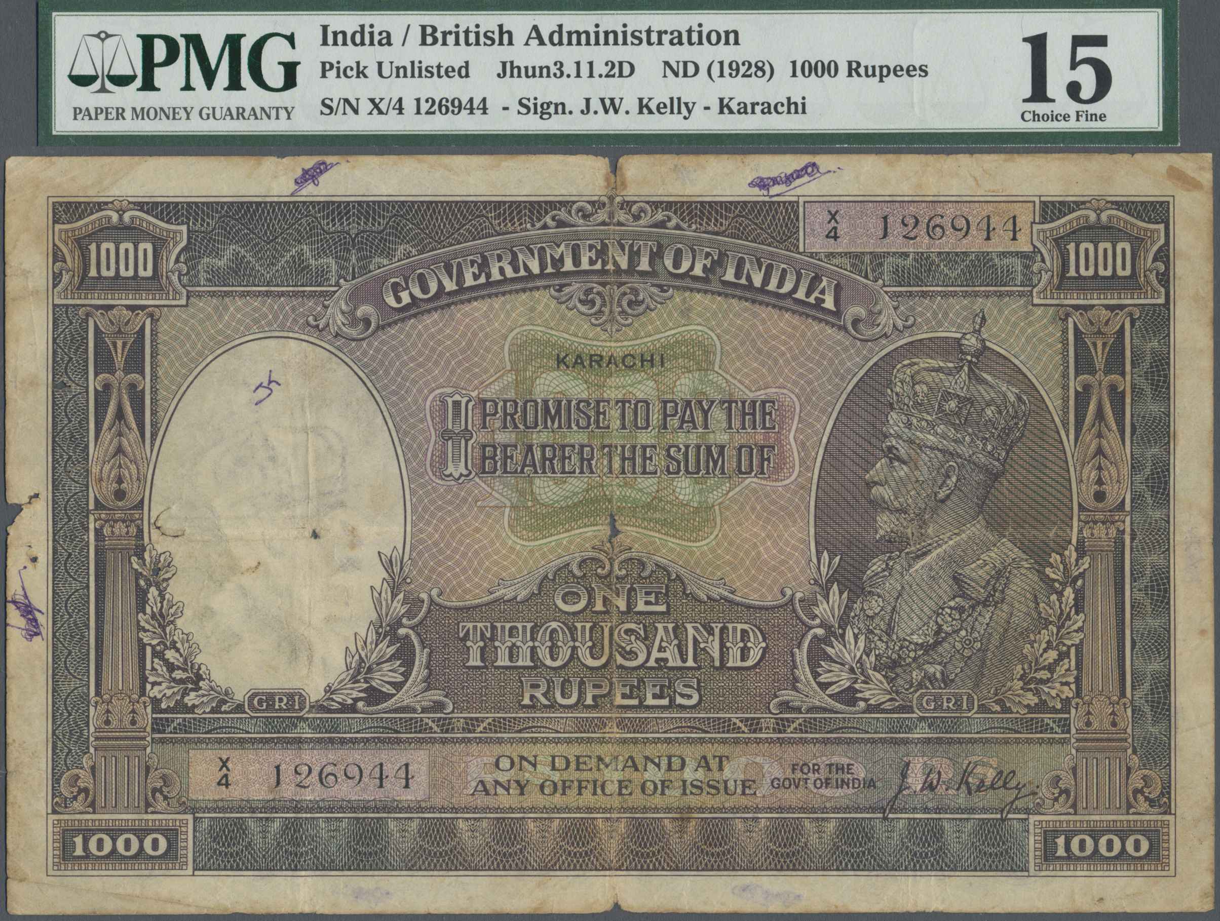 Stamp Auction - India / Indien | Banknoten - Sale #43 Bank