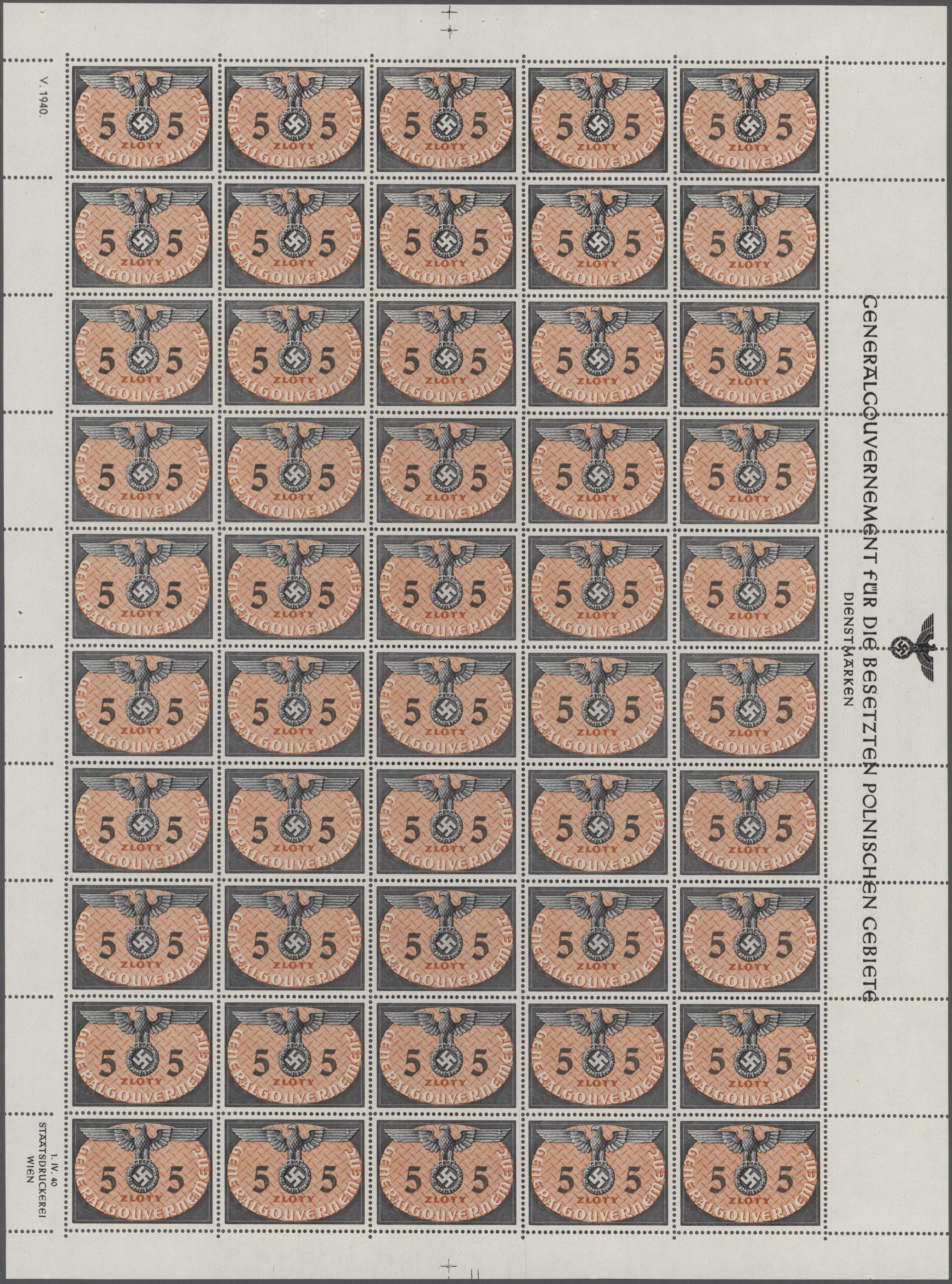 Lot 27485 - Dt. Besetzung II WK - Generalgouvernement - Dienstmarken  -  Auktionshaus Christoph Gärtner GmbH & Co. KG Sale #46 Gollcetions Germany - including the suplement