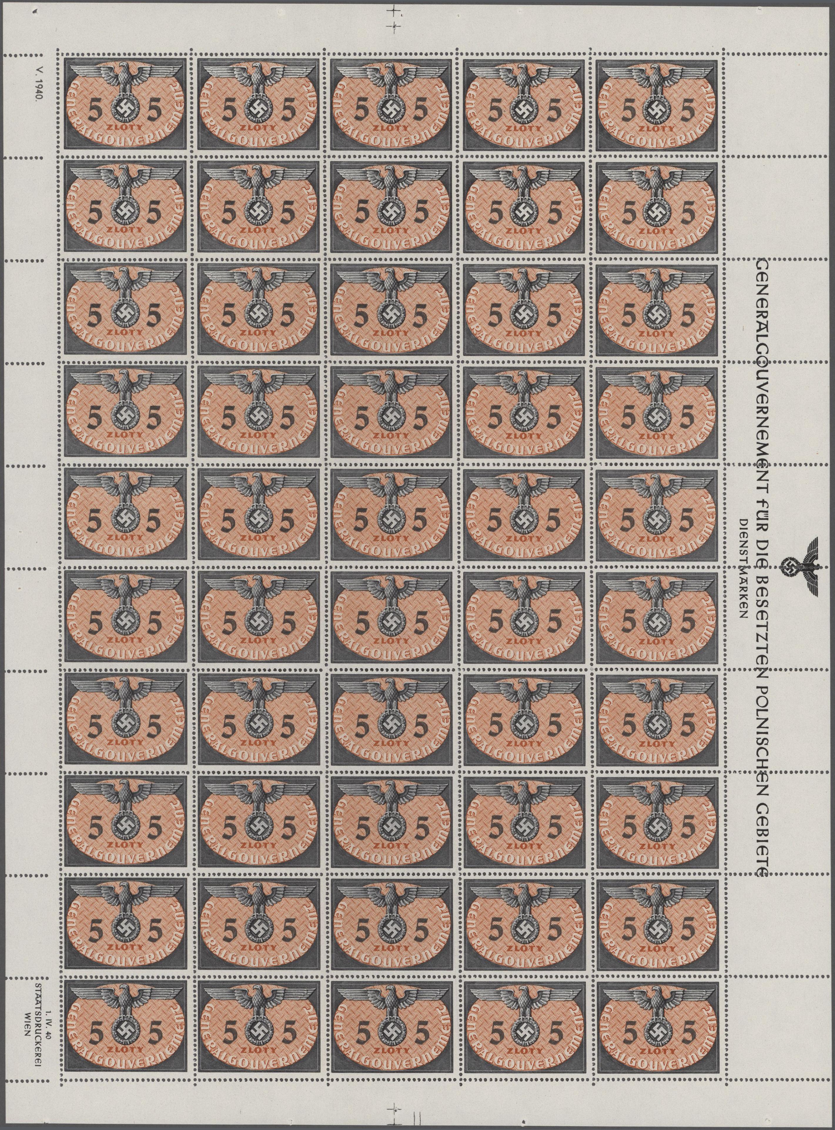 Lot 27483 - Dt. Besetzung II WK - Generalgouvernement - Dienstmarken  -  Auktionshaus Christoph Gärtner GmbH & Co. KG Sale #46 Gollcetions Germany - including the suplement