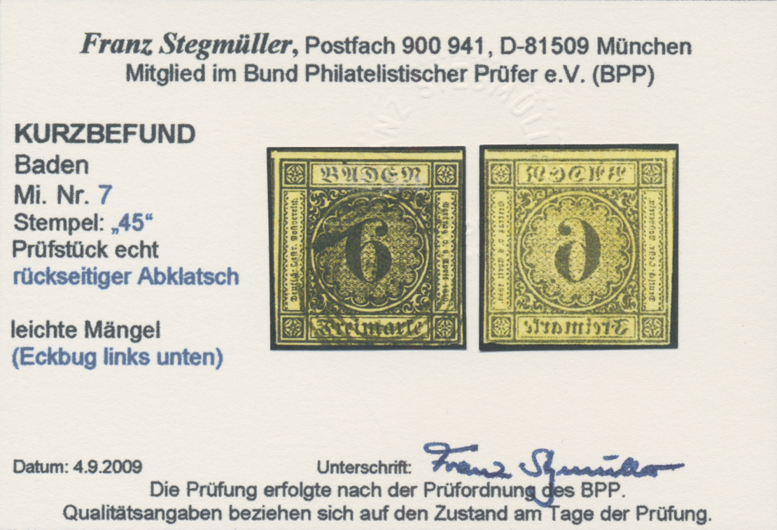 Lot 27394 - Baden - Marken und Briefe  -  Auktionshaus Christoph Gärtner GmbH & Co. KG Sale #46 Gollcetions Germany - including the suplement