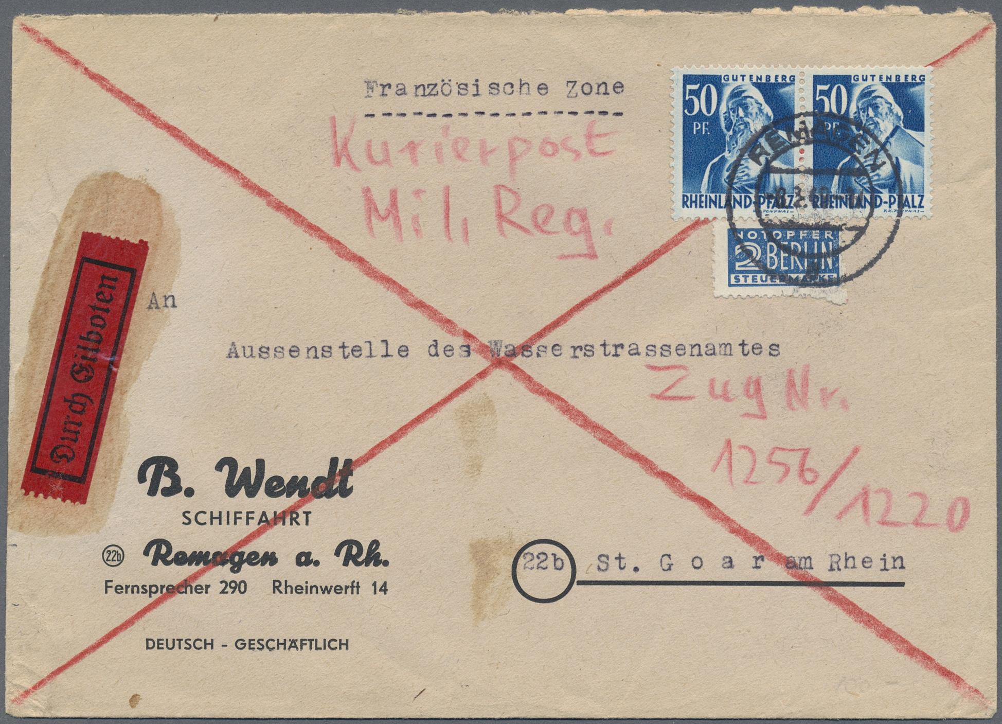 Lot 38259 - Französische Zone - Rheinland Pfalz  -  Auktionshaus Christoph Gärtner GmbH & Co. KG Collections Germany,  Collections Supplement, Surprise boxes #39 Day 7