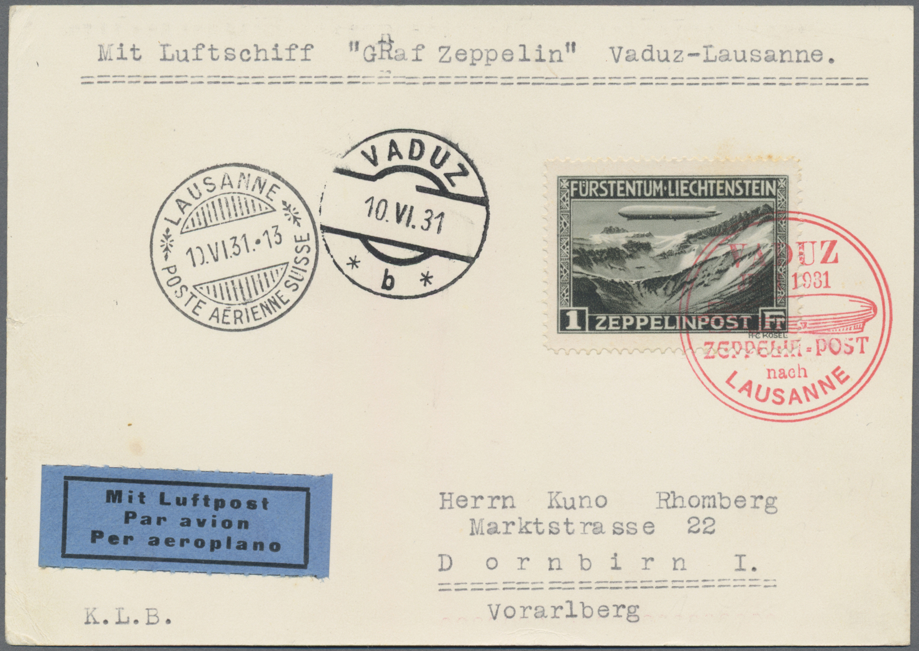 Lot 04802 - zeppelinpost europa  -  Auktionshaus Christoph Gärtner GmbH & Co. KG Special Auction 26.- 28. May 2020