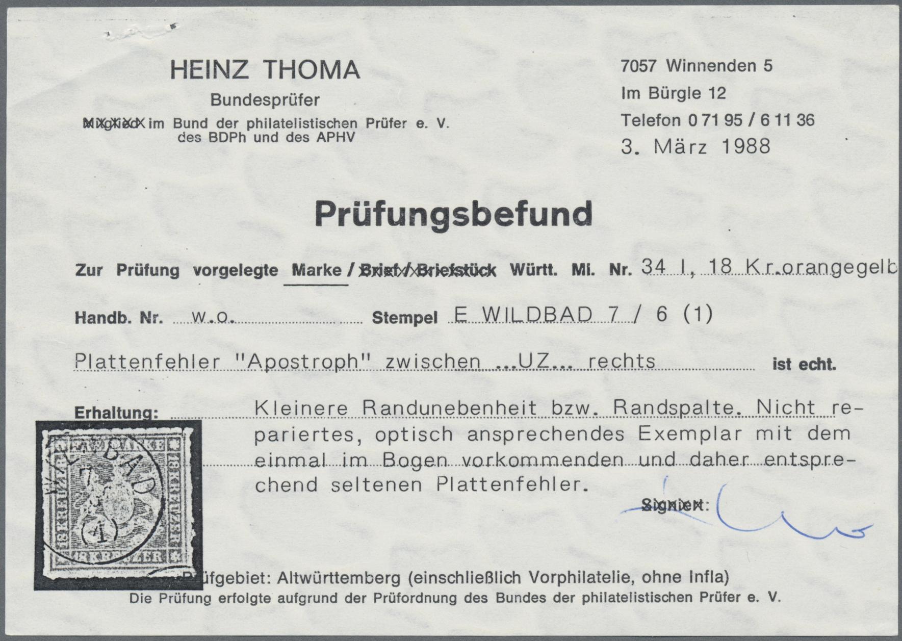 Lot 10941A - Württemberg - Marken und Briefe  -  Auktionshaus Christoph Gärtner GmbH & Co. KG 50th Auction Anniversary Auction - Day 4