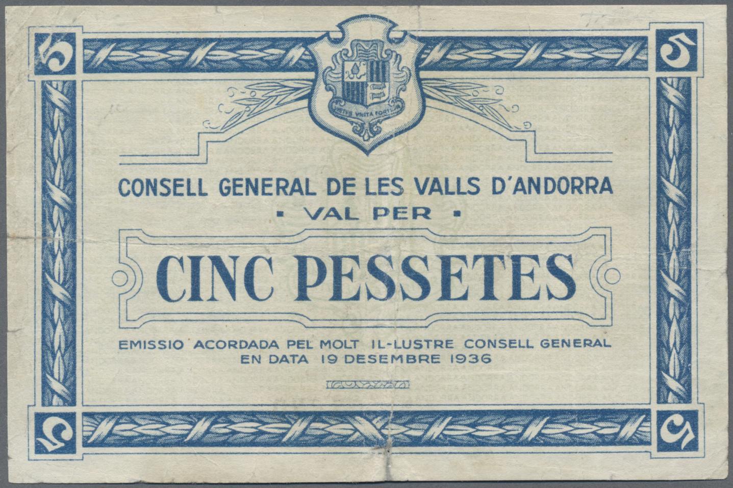 Lot 00011 - Andorra | Banknoten  -  Auktionshaus Christoph Gärtner GmbH & Co. KG Sale #48 The Banknotes