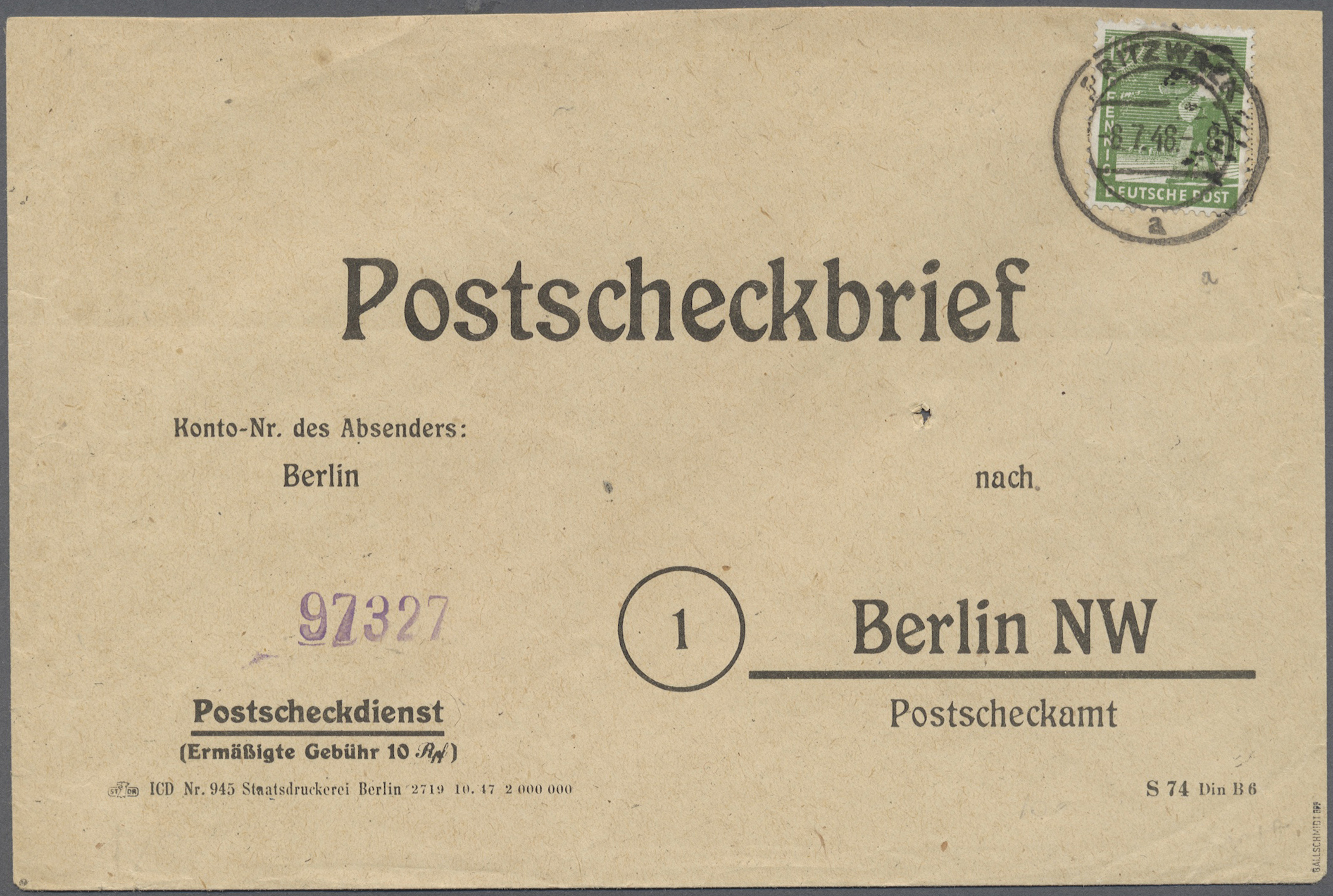 Lot 20123 - Sowjetische Zone - Bezirkshandstempel - VII - Bez. 36 (Potsdam)  -  Auktionshaus Christoph Gärtner GmbH & Co. KG Auction #40 Germany, Picture Post Cards, Collections Overseas, Thematics