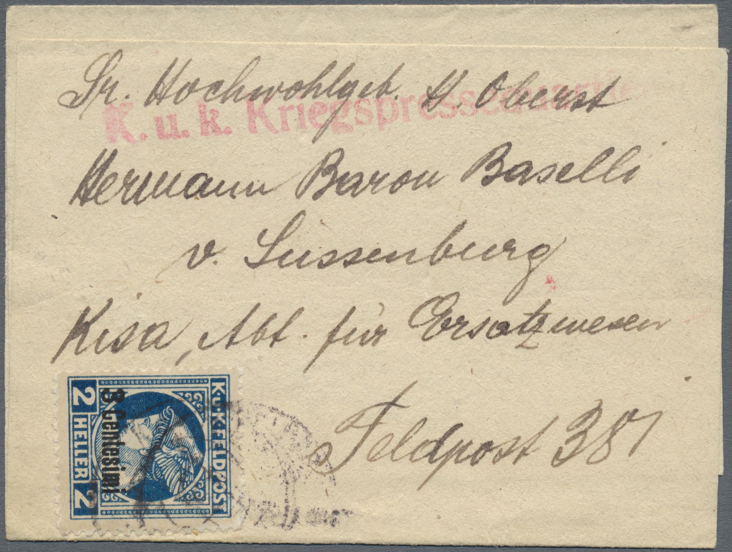 Lot 18207 - Österreichisch-Ungarische Feldpost - Italien  -  Auktionshaus Christoph Gärtner GmbH & Co. KG Single lots Philately Overseas & Europe. Auction #39 Day 4