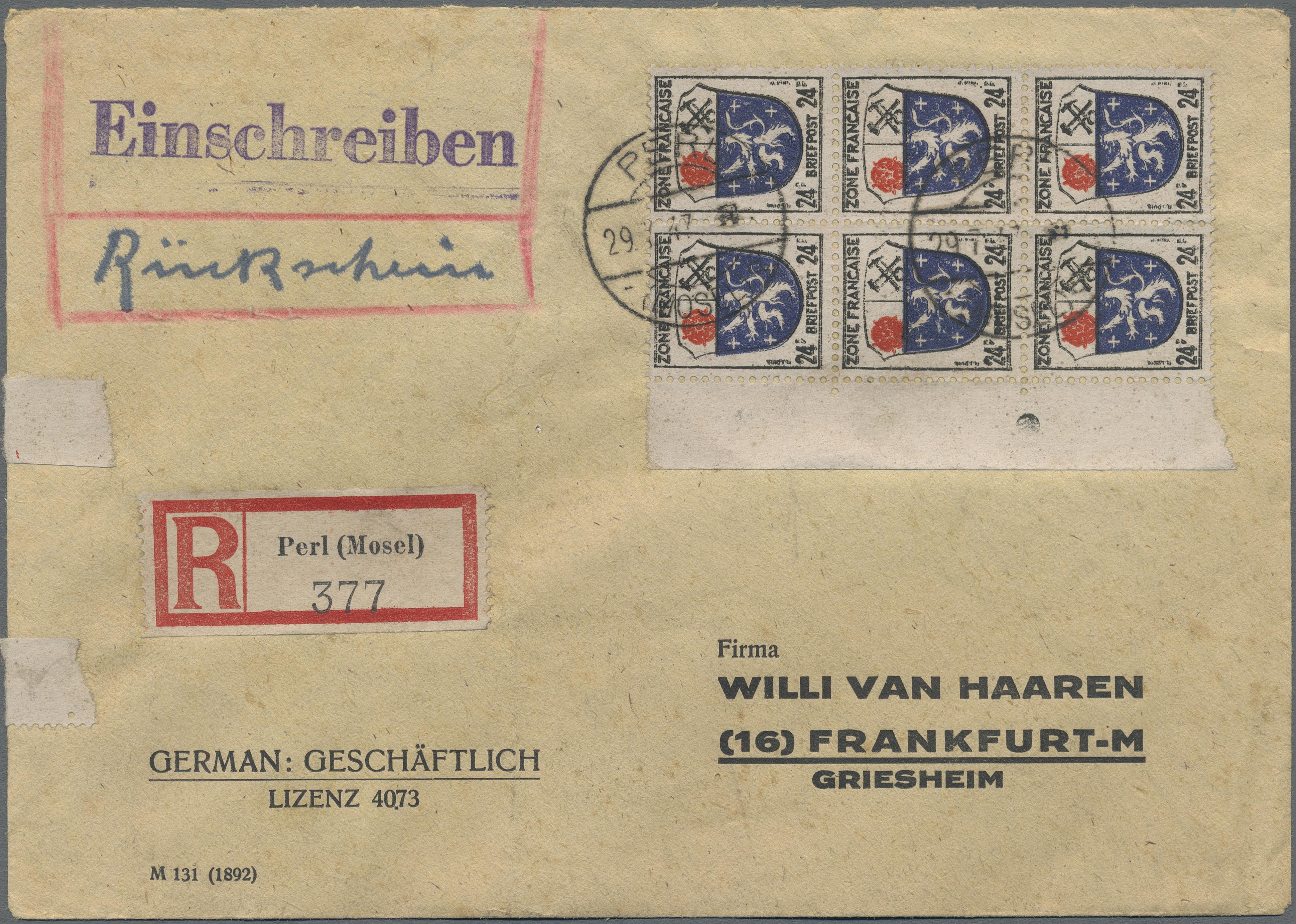 Lot 37507 - Französische Zone - Allgemeine Ausgabe  -  Auktionshaus Christoph Gärtner GmbH & Co. KG Sale #44 Collections Germany