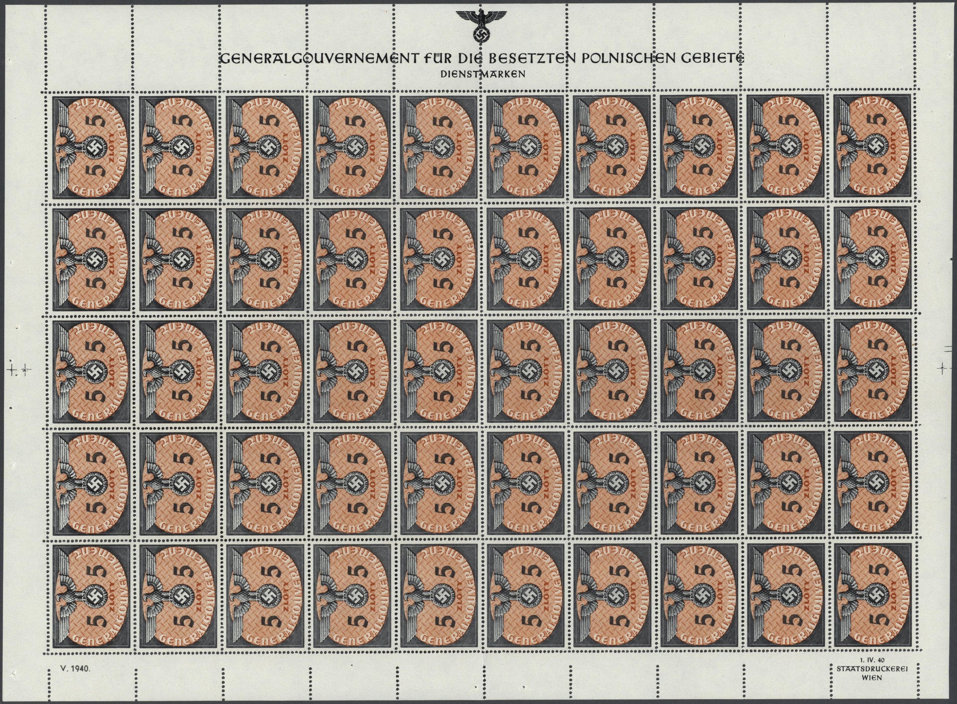 Lot 28973 - Dt. Besetzung II WK - Generalgouvernement - Dienstmarken  -  Auktionshaus Christoph Gärtner GmbH & Co. KG Sale #46 Gollcetions Germany - including the suplement