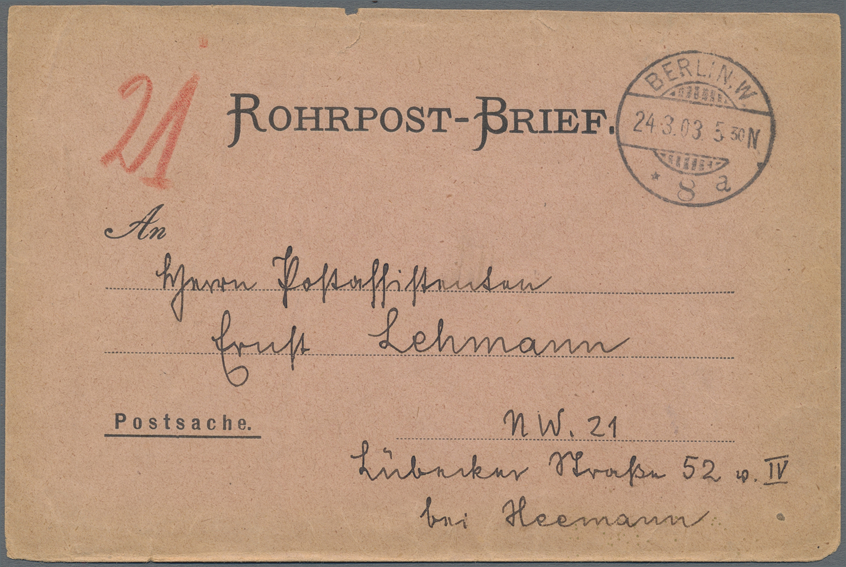 Lot 37493 - Berlin - Rohrpost  -  Auktionshaus Christoph Gärtner GmbH & Co. KG Sale #44 Collections Germany