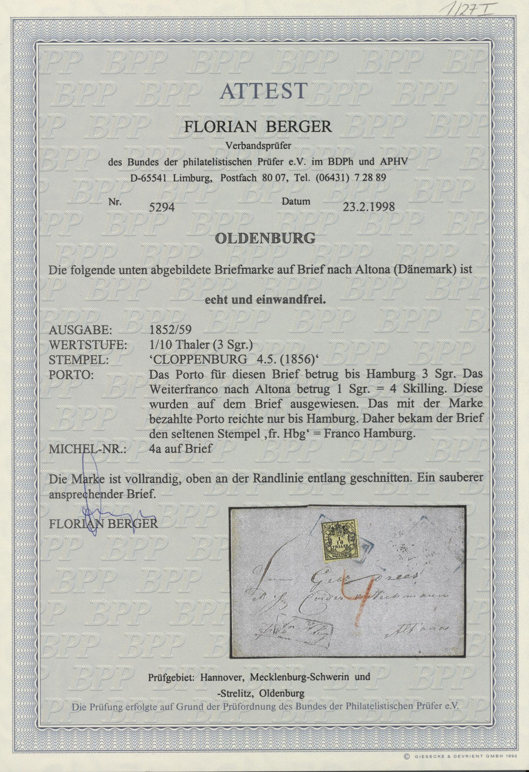 Stamp Auction Oldenburg Marken Und Briefe Collection Peter
