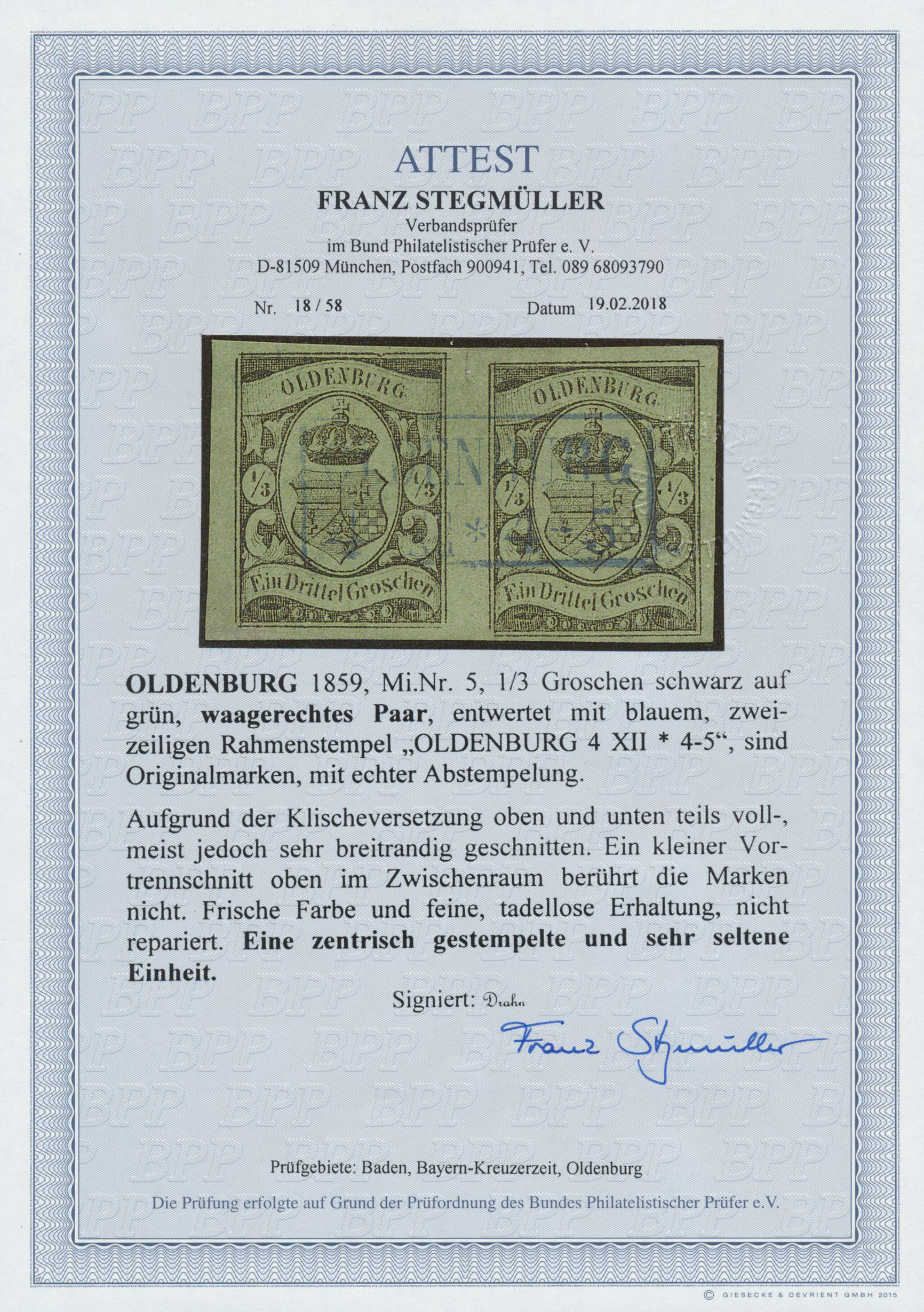 Lot 13719 - Oldenburg - Marken und Briefe  -  Auktionshaus Christoph Gärtner GmbH & Co. KG Sale #46 Single lots Germany - and picture post cards