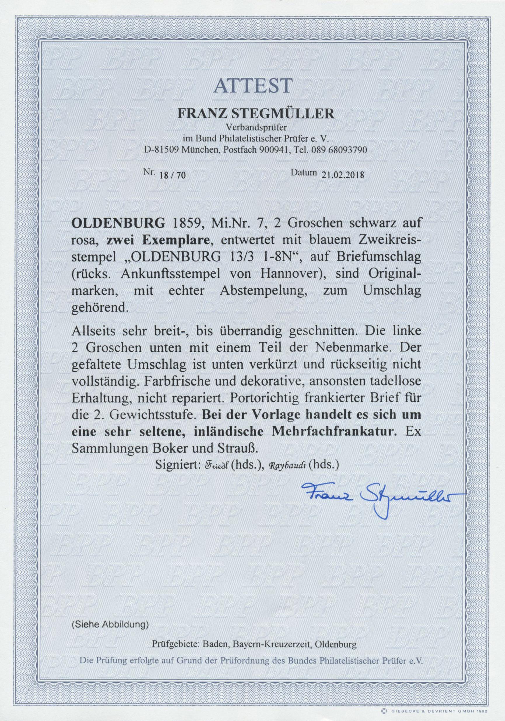 Lot 13721 - Oldenburg - Marken und Briefe  -  Auktionshaus Christoph Gärtner GmbH & Co. KG Sale #46 Single lots Germany - and picture post cards