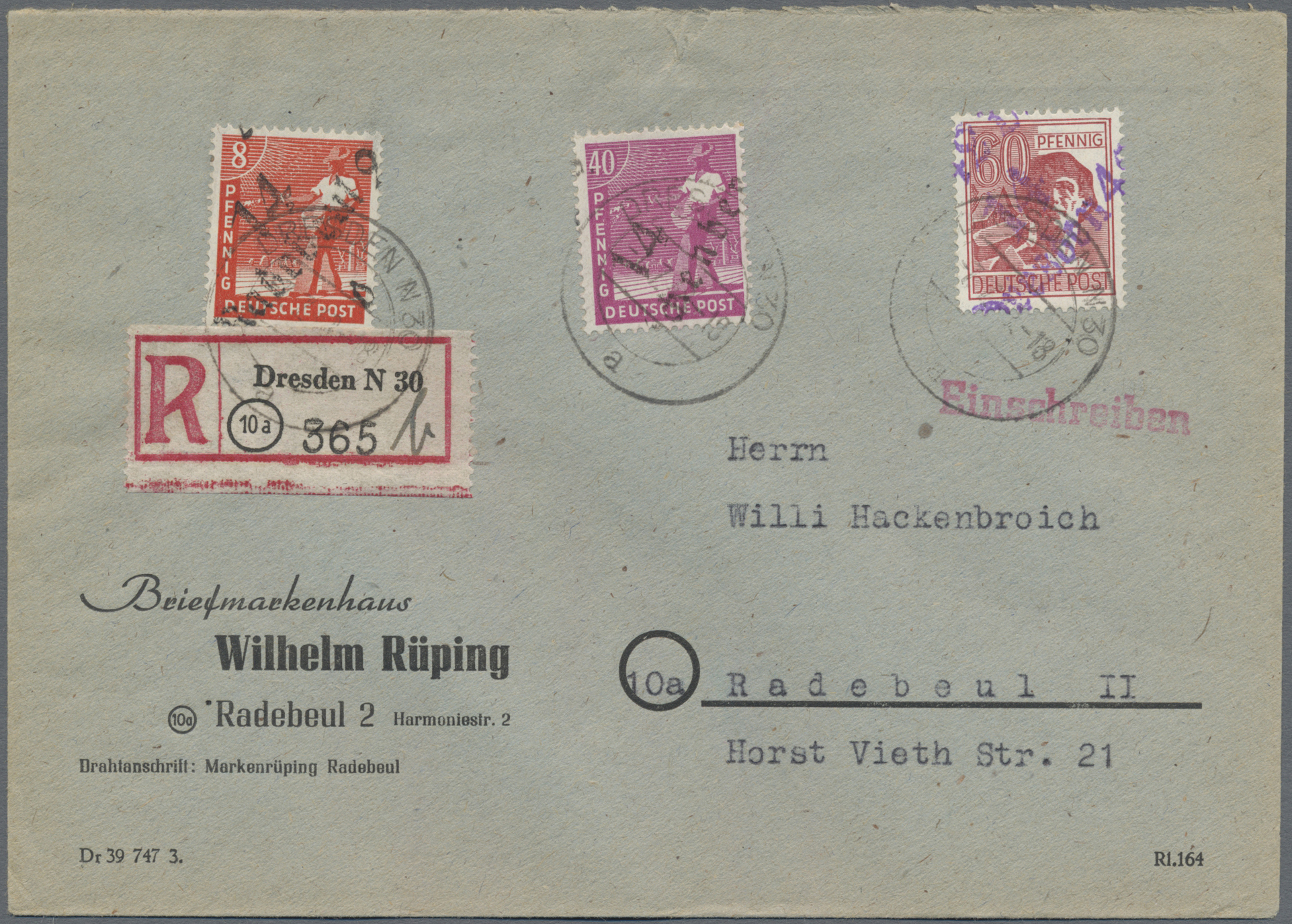 Lot 24227G - Sowjetische Zone - Bezirkshandstempel - II - Bez. 14 (Dresden)  -  Auktionshaus Christoph Gärtner GmbH & Co. KG Sale #44 Germany, Picture Post cards