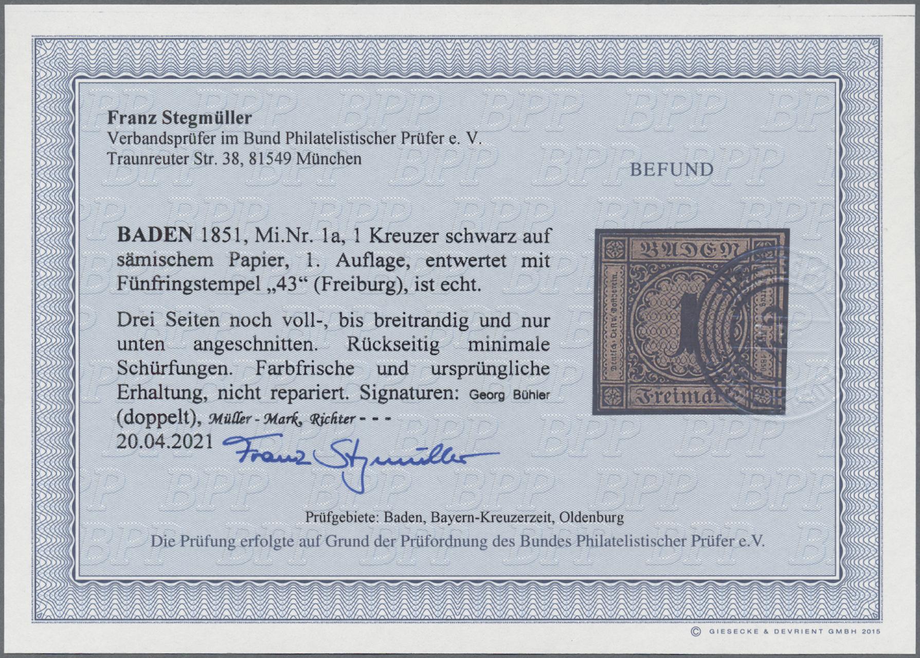 Lot 05000 - Baden - Marken und Briefe  -  Auktionshaus Christoph Gärtner GmbH & Co. KG 51th Auction - Day 3