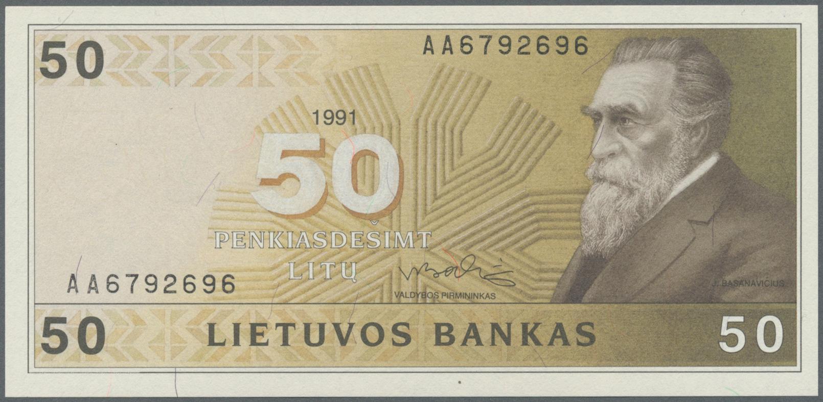 Lot 1212 - Lithuania / Litauen | Banknoten  -  Auktionshaus Christoph Gärtner GmbH & Co. KG Banknotes Worldwide Auction #39 Day 1