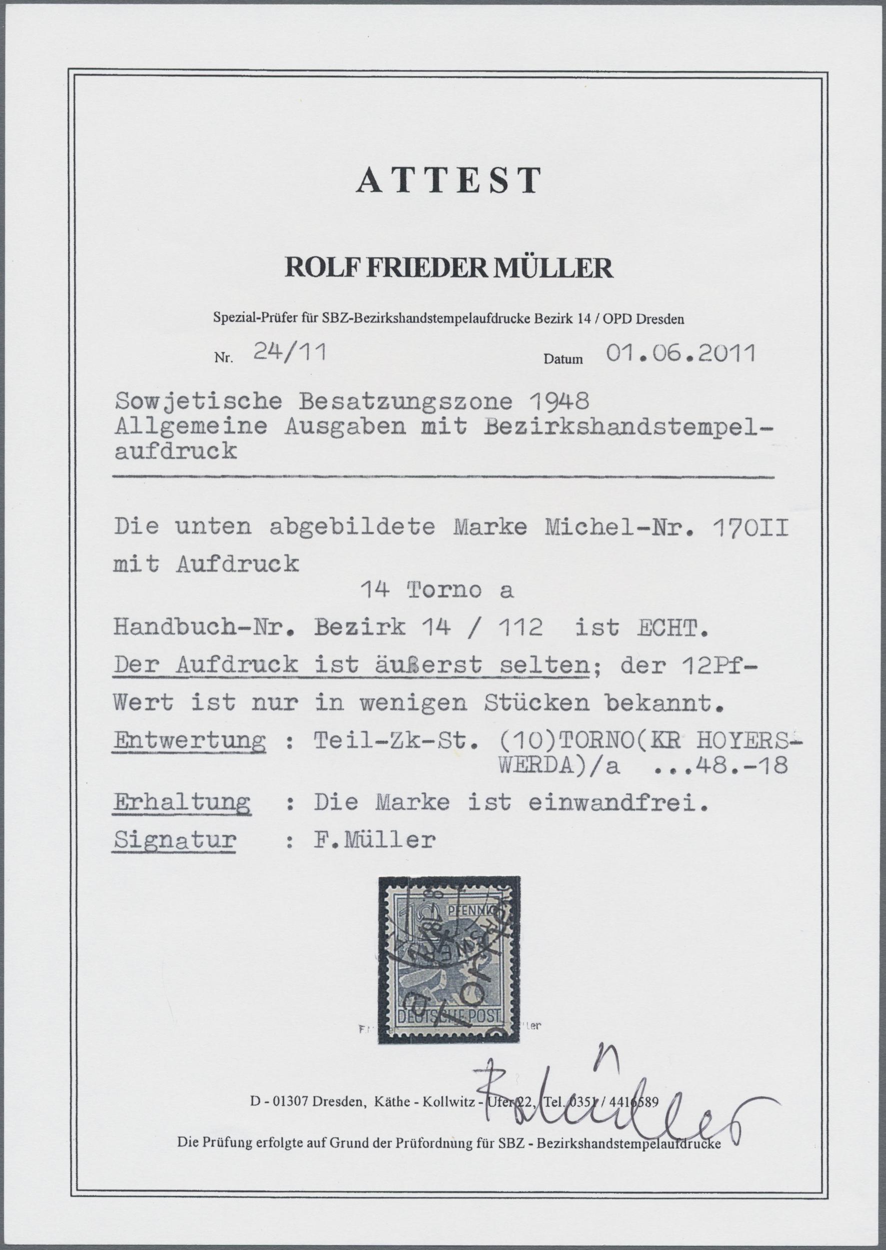 Lot 24227N - Sowjetische Zone - Bezirkshandstempel - II - Bez. 14 (Dresden)  -  Auktionshaus Christoph Gärtner GmbH & Co. KG Sale #44 Germany, Picture Post cards
