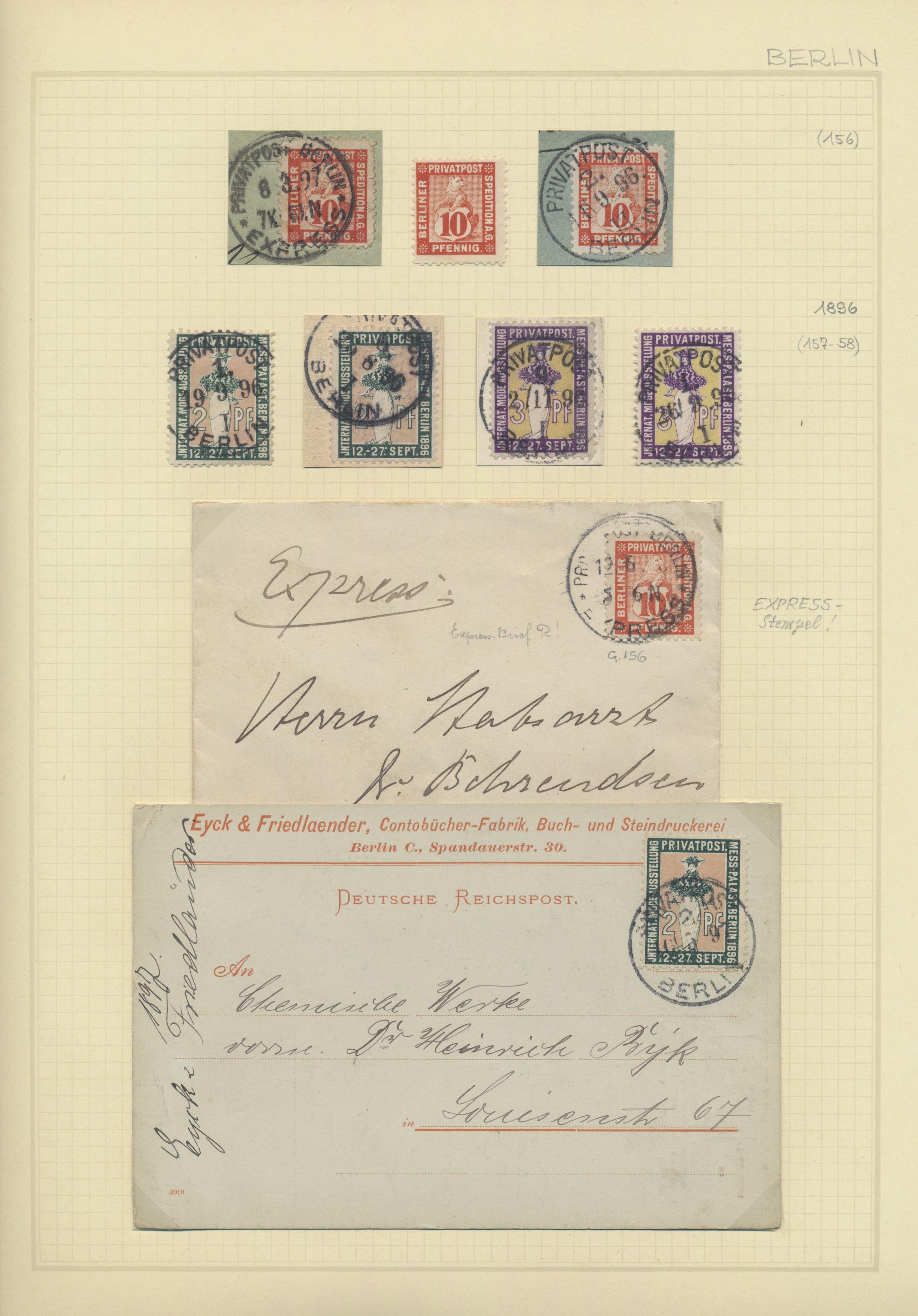 Lot 36805 - Deutsches Reich - Privatpost (Stadtpost)  -  Auktionshaus Christoph Gärtner GmbH & Co. KG Sale #44 Collections Germany