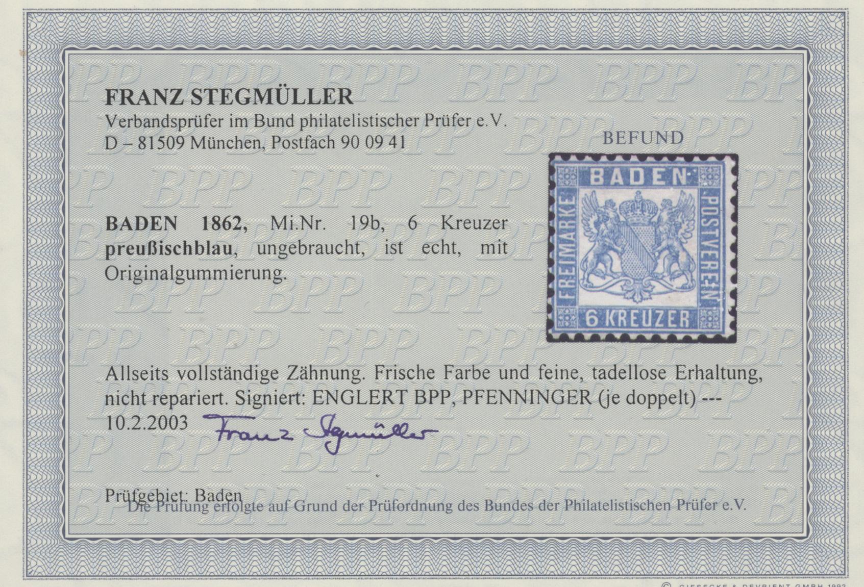 Lot 28144 - Baden - Marken und Briefe  -  Auktionshaus Christoph Gärtner GmbH & Co. KG Sale #46 Gollcetions Germany - including the suplement