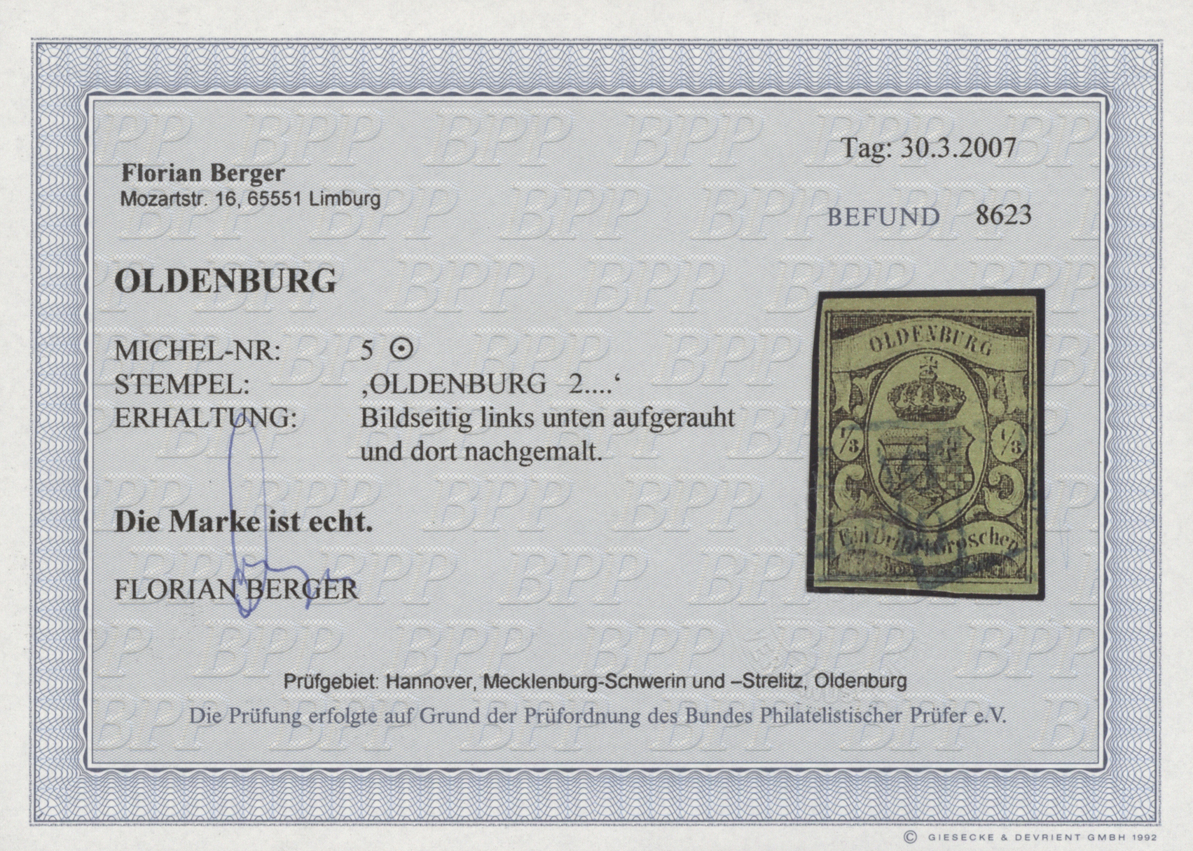 Lot 36265 - Oldenburg - Marken und Briefe  -  Auktionshaus Christoph Gärtner GmbH & Co. KG Sale #44 Collections Germany