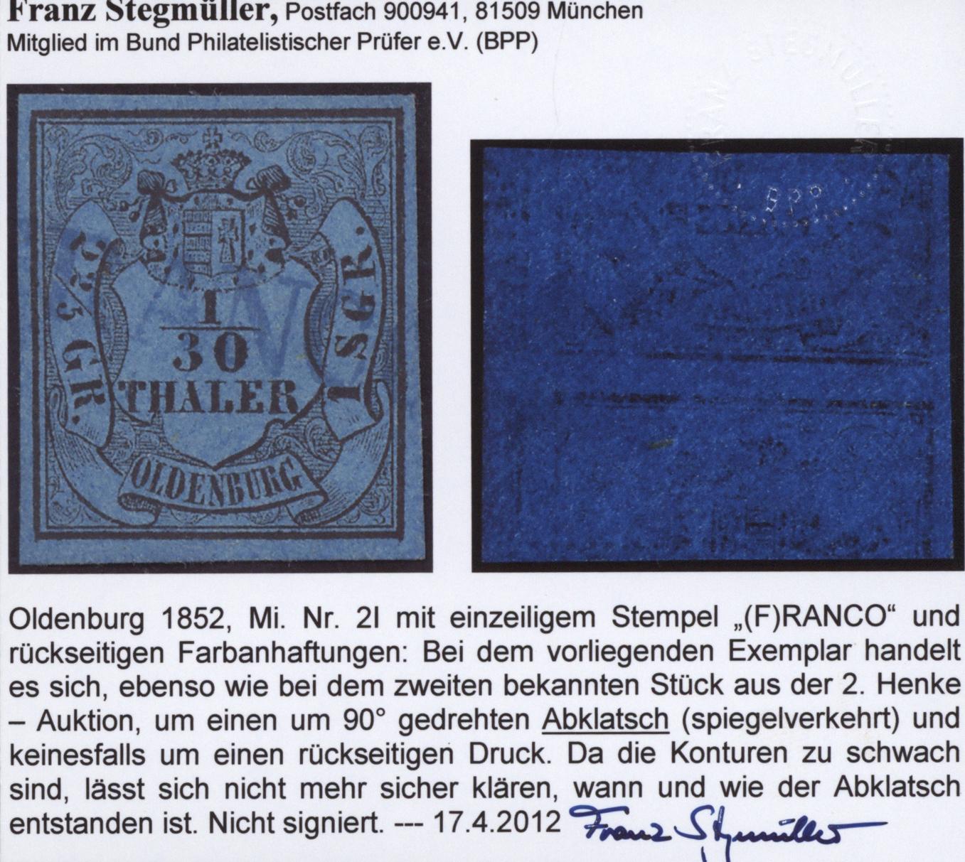 Lot 36265 - Oldenburg - Marken und Briefe  -  Auktionshaus Christoph Gärtner GmbH & Co. KG Sale #44 Collections Germany