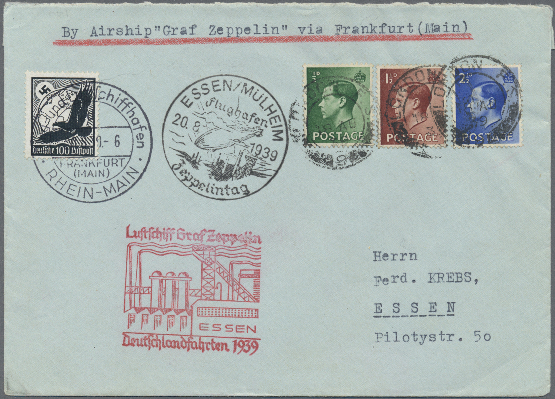 Lot 13402 - zeppelinpost europa  -  Auktionshaus Christoph Gärtner GmbH & Co. KG Sale #47 Single lots: Asia, Thematics, Overseas, Europe
