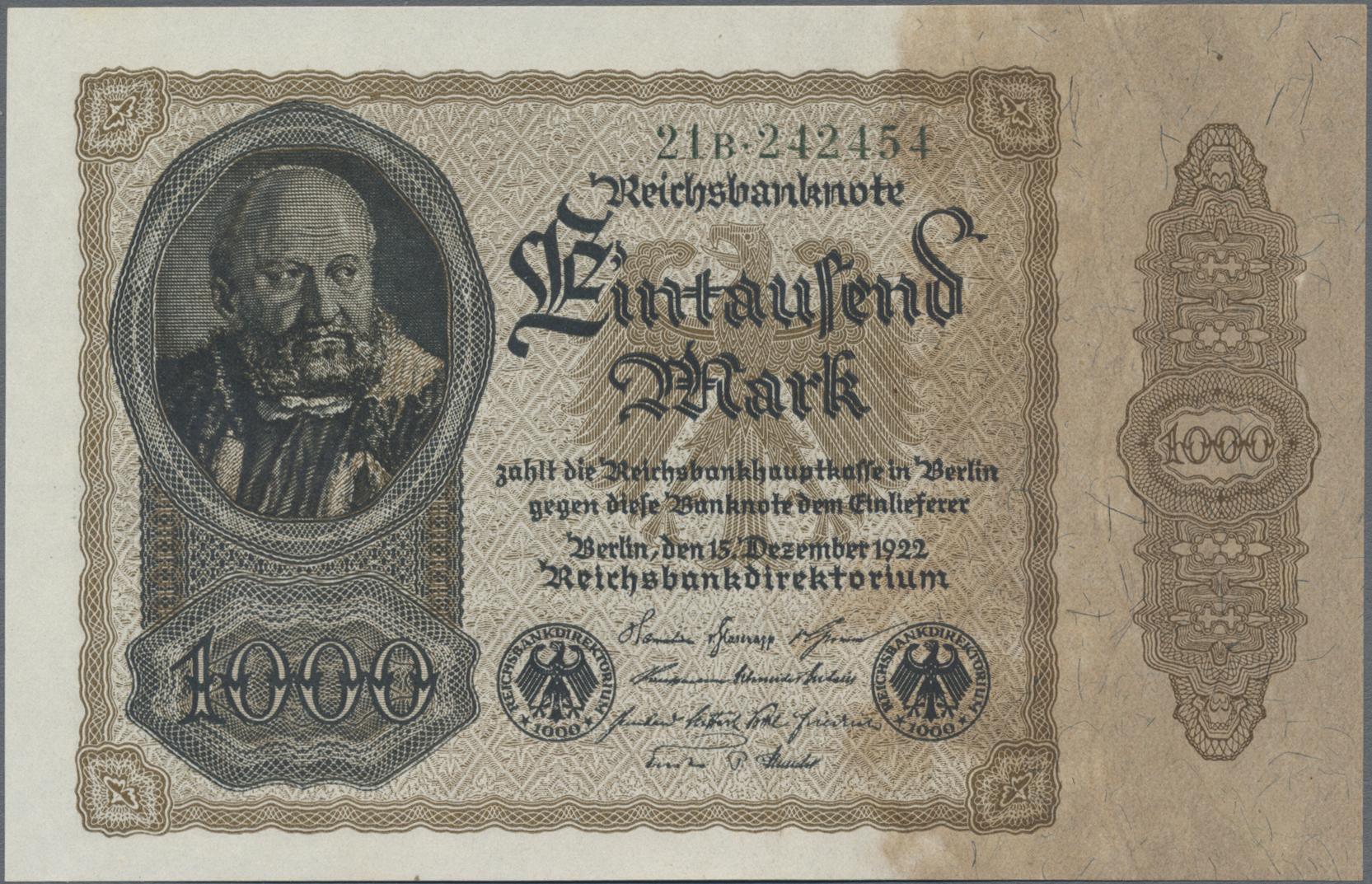 Lot 03330 - Deutschland - Deutsches Reich bis 1945 | Banknoten  -  Auktionshaus Christoph Gärtner GmbH & Co. KG Sale #45 Banknotes Germany/Numismatics