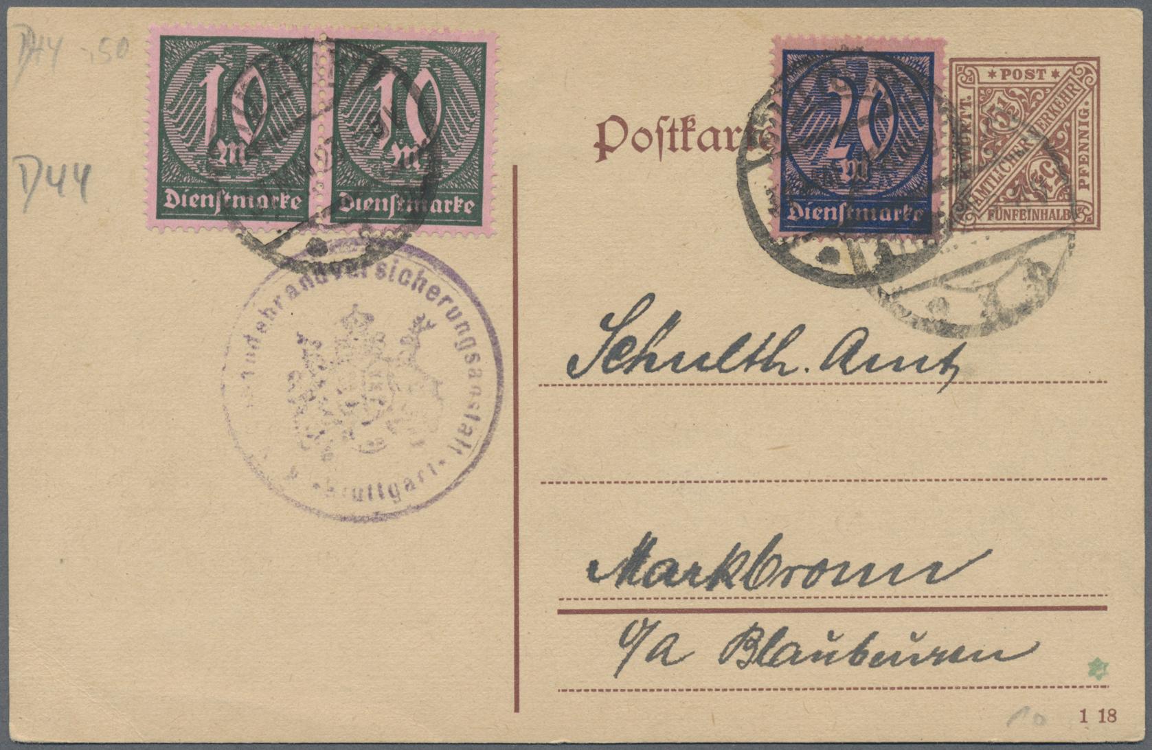 Lot 36790 - Deutsches Reich - Dienstmarken  -  Auktionshaus Christoph Gärtner GmbH & Co. KG Sale #44 Collections Germany