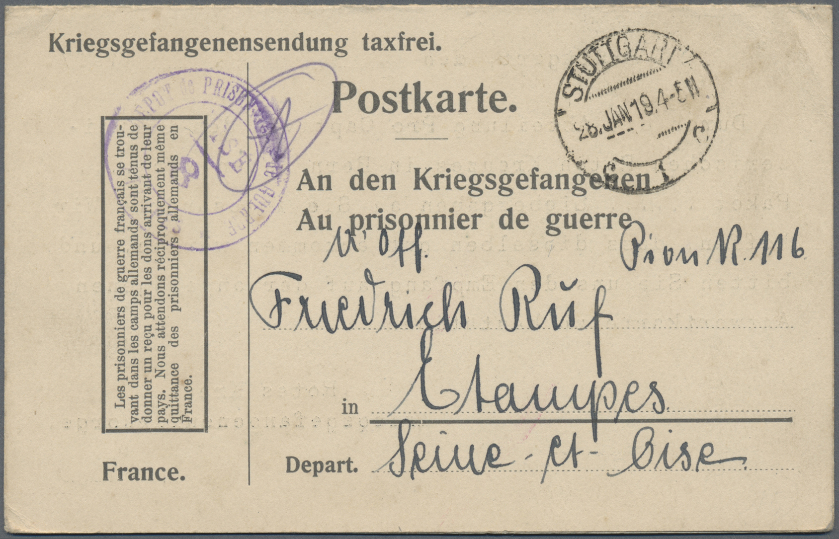 Lot 37177 - kriegsgefangenen-lagerpost  -  Auktionshaus Christoph Gärtner GmbH & Co. KG Sale #44 Collections Germany