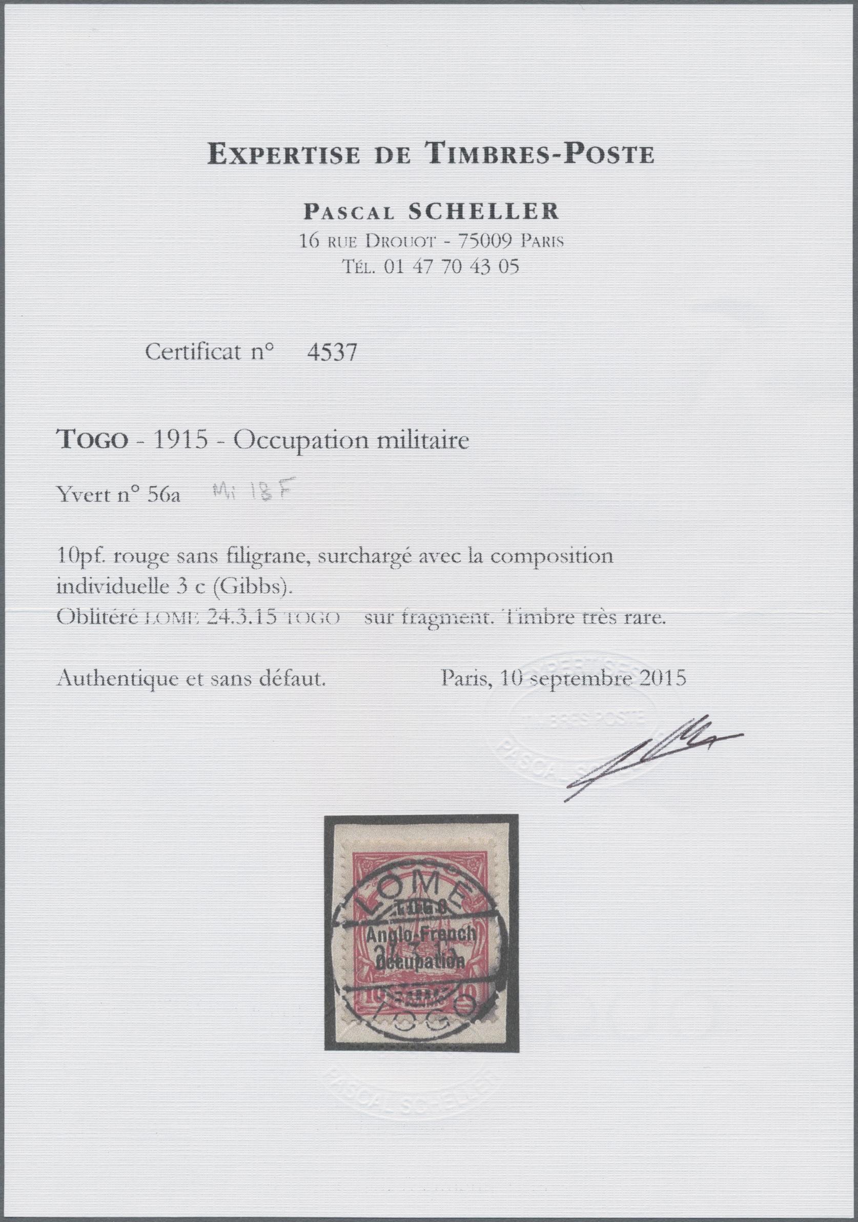 Lot 11502 - Deutsche Kolonien - Togo - Britische Besetzung  -  Auktionshaus Christoph Gärtner GmbH & Co. KG Sale #48 The Single Lots Philatelie