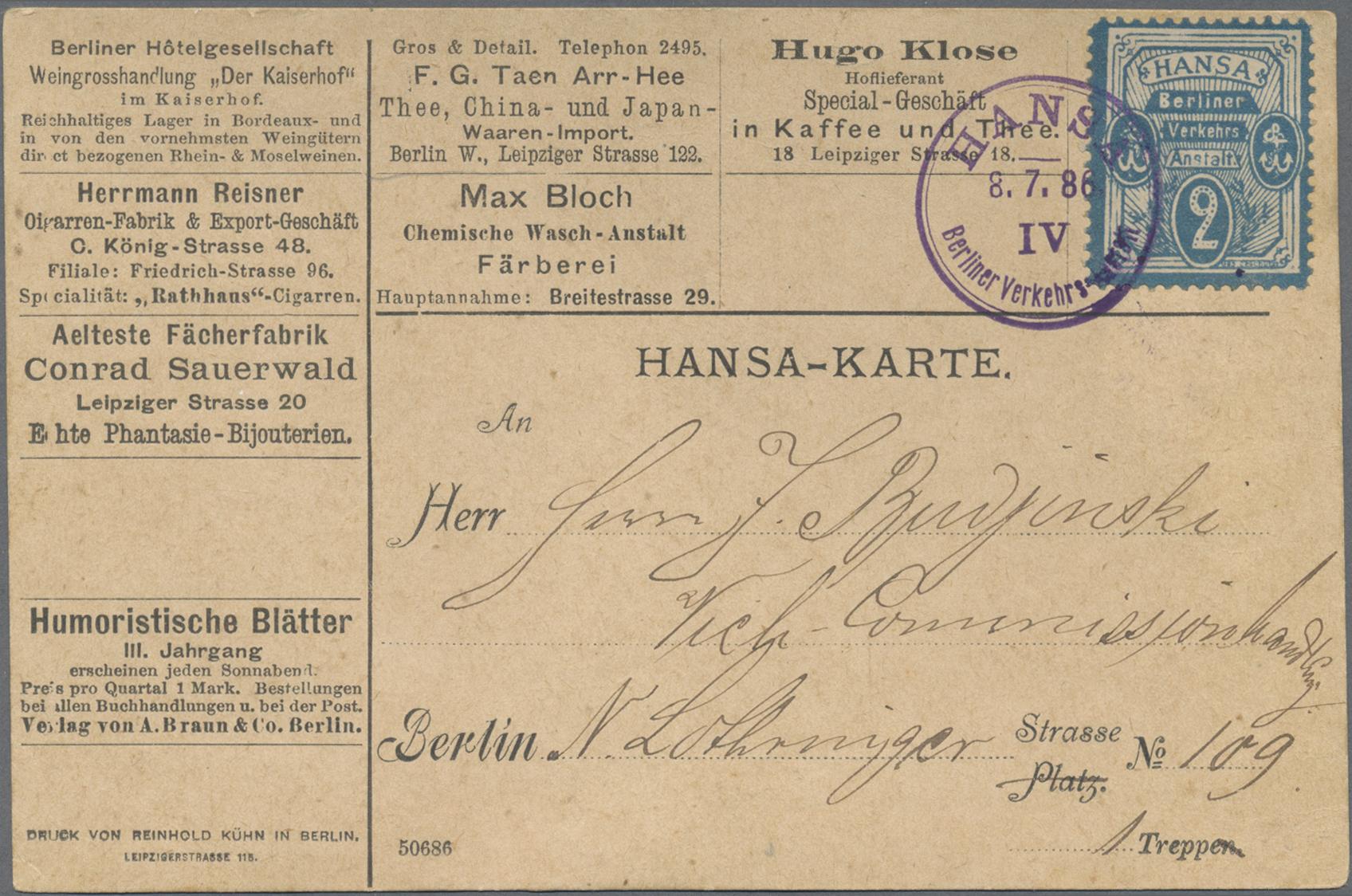 Lot 23422 - Deutsches Reich - Privatpost (Stadtpost)  -  Auktionshaus Christoph Gärtner GmbH & Co. KG 50th Auction Anniversary Auction - Day 7