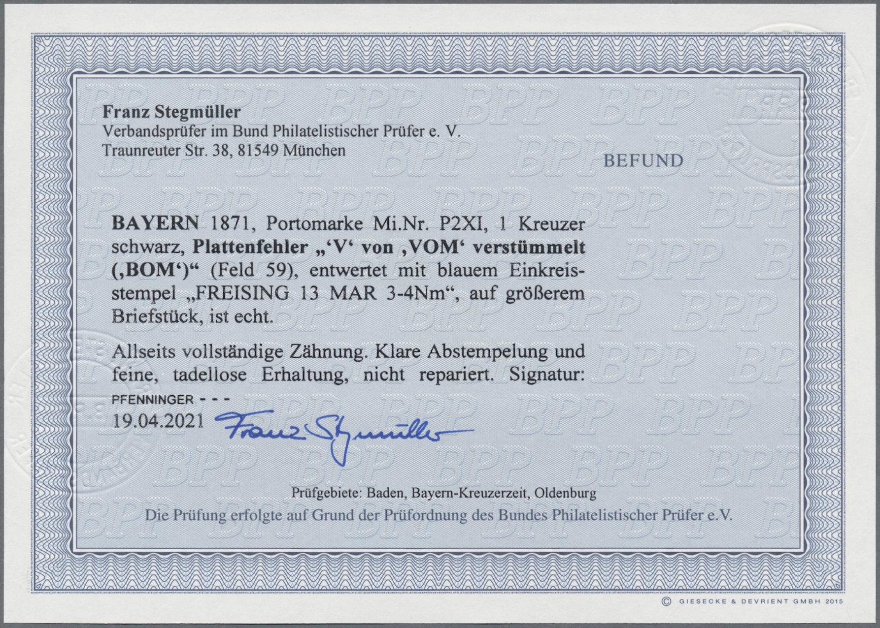 Lot 02437 - Bayern - Portomarken  -  Auktionshaus Christoph Gärtner GmbH & Co. KG 50th Auction Anniversary Auction - Day 7