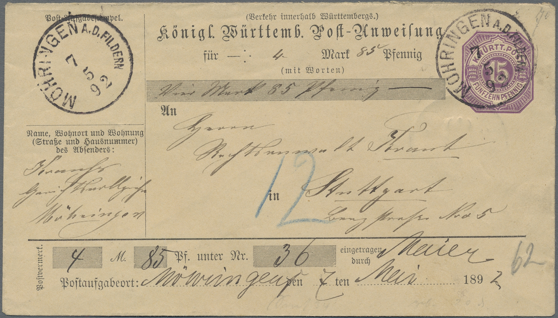 Lot 36352 - württemberg - ganzsachen  -  Auktionshaus Christoph Gärtner GmbH & Co. KG Sale #44 Collections Germany