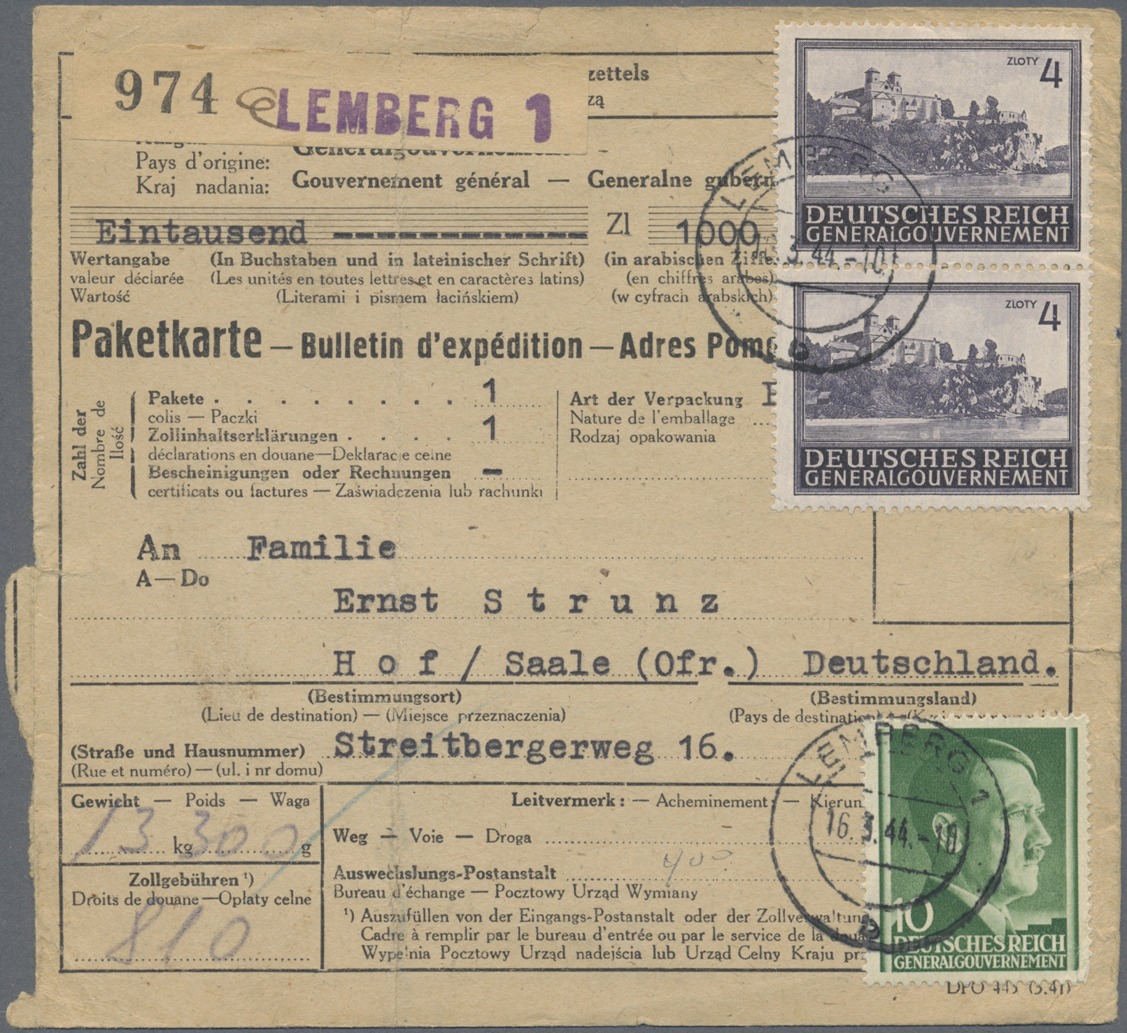 Lot 37103 - Dt. Besetzung II WK - Generalgouvernement  -  Auktionshaus Christoph Gärtner GmbH & Co. KG Sale #44 Collections Germany