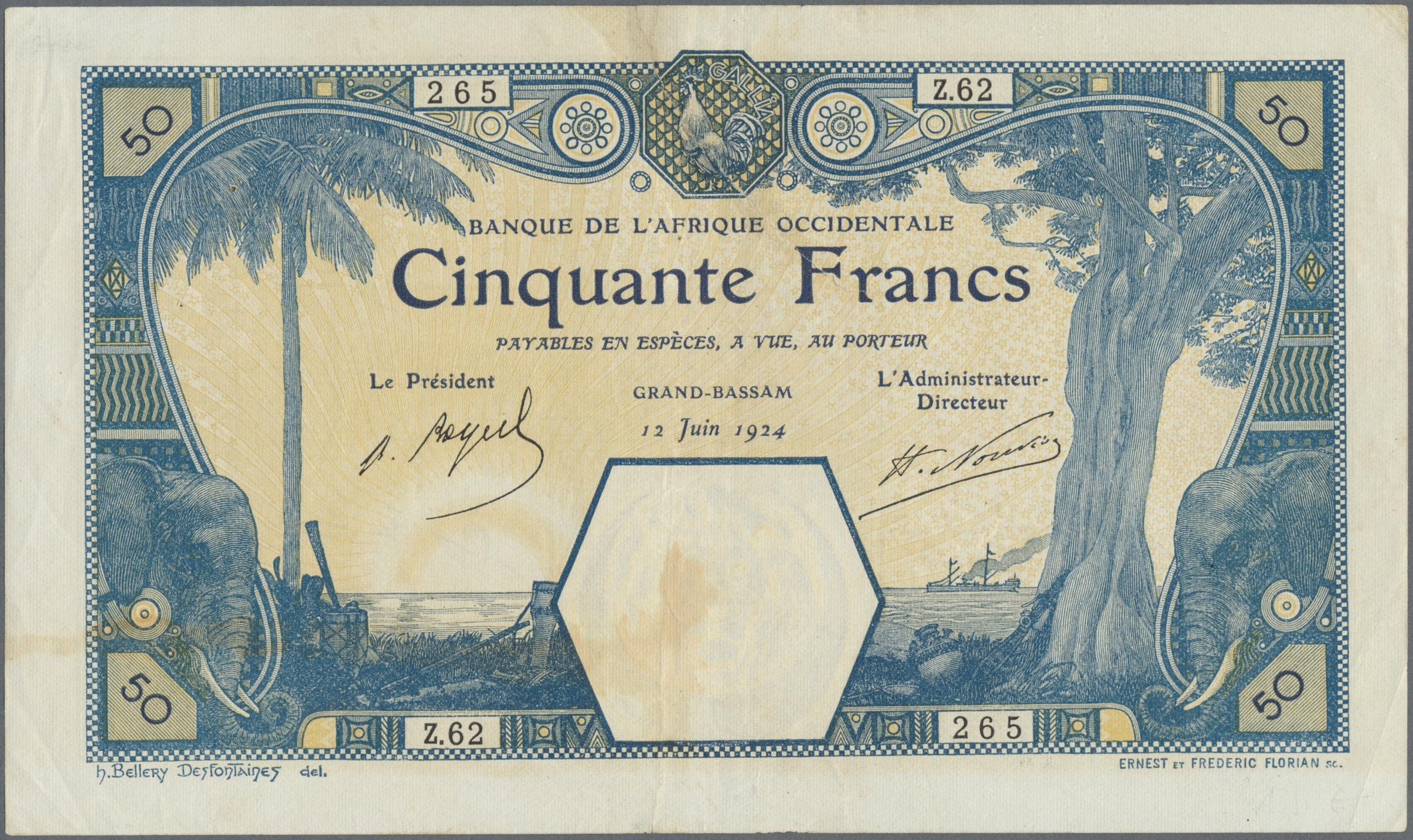 Lot 00351 - French West Africa / Französisch Westafrika | Banknoten  -  Auktionshaus Christoph Gärtner GmbH & Co. KG Sale #48 The Banknotes
