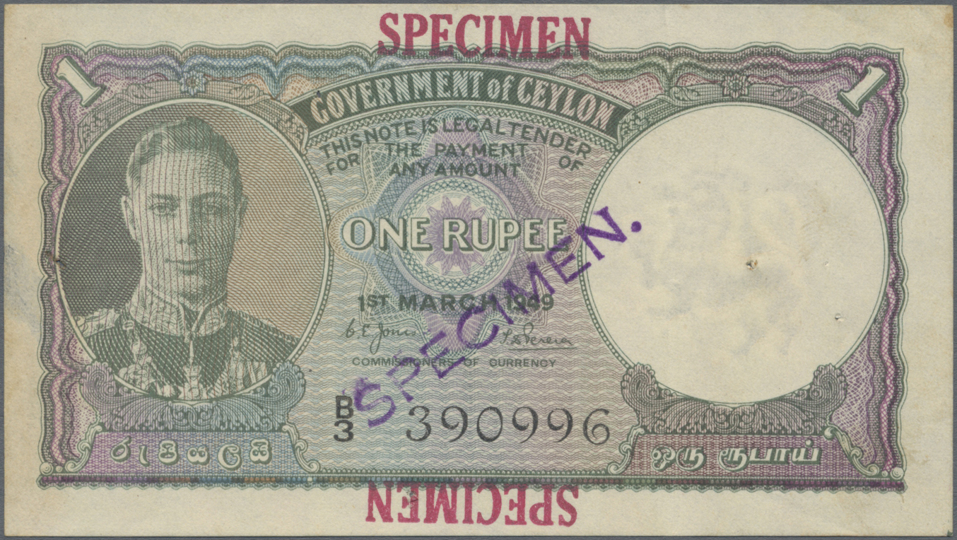 Lot 00111 - Ceylon | Banknoten  -  Auktionshaus Christoph Gärtner GmbH & Co. KG Sale #48 The Banknotes