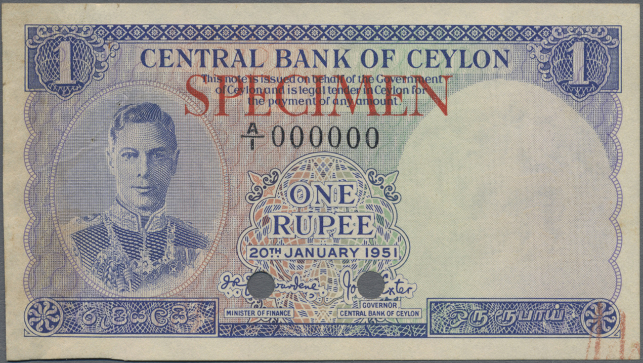 Lot 00114 - Ceylon   Banknoten  -  Auktionshaus Christoph Gärtner GmbH & Co. KG Sale #48 The Banknotes