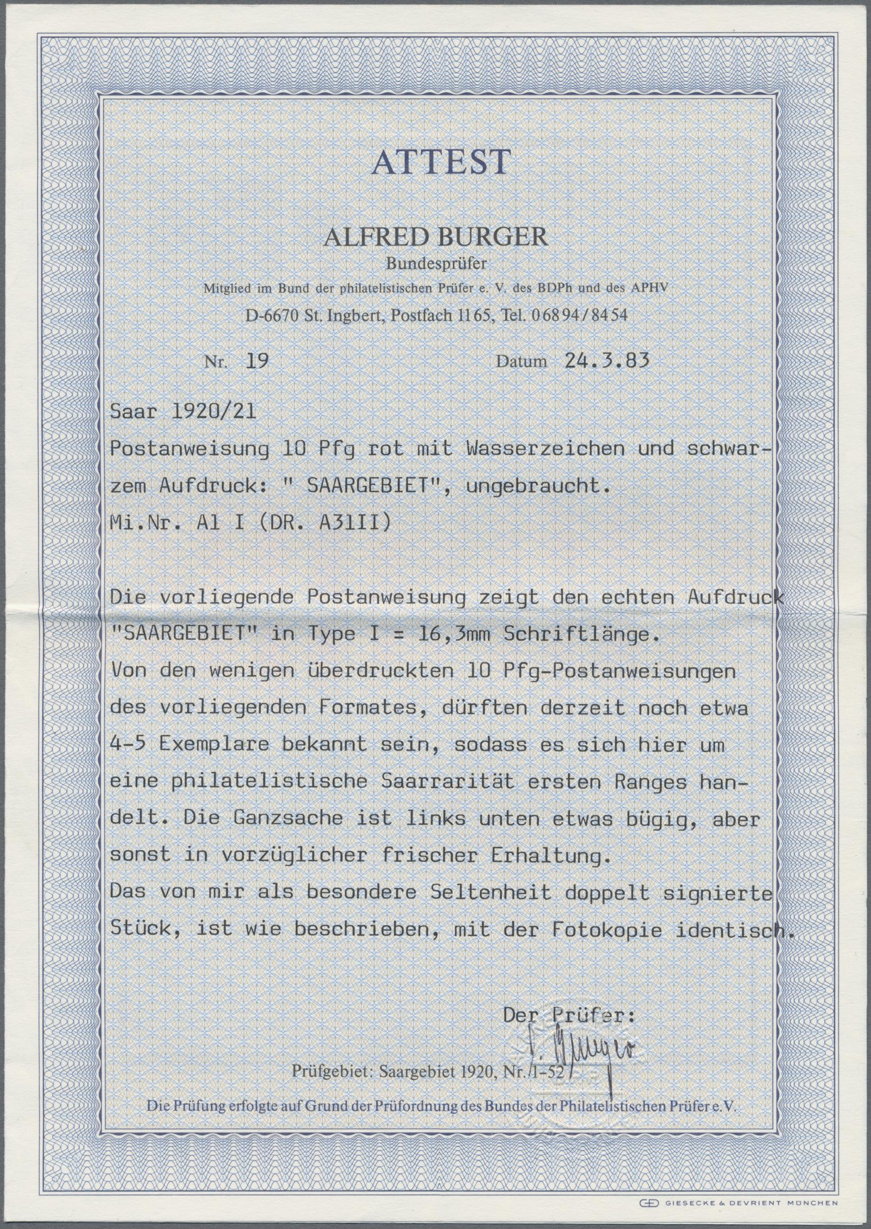Lot 23129 - Deutsche Abstimmungsgebiete: Saargebiet - Ganzsachen  -  Auktionshaus Christoph Gärtner GmbH & Co. KG Sale #44 Germany, Picture Post cards