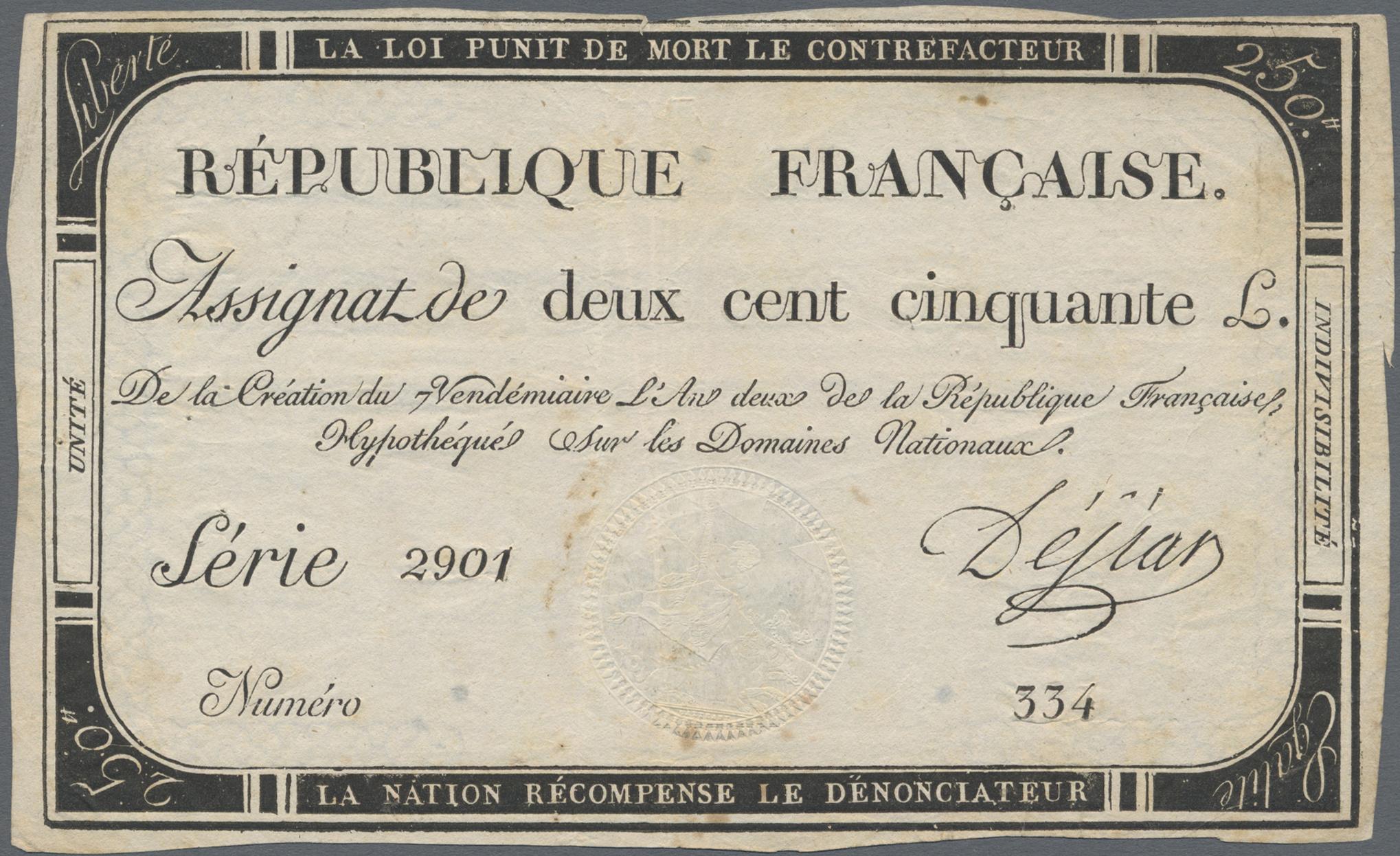 Lot 00270 - France / Frankreich | Banknoten  -  Auktionshaus Christoph Gärtner GmbH & Co. KG Sale #48 The Banknotes