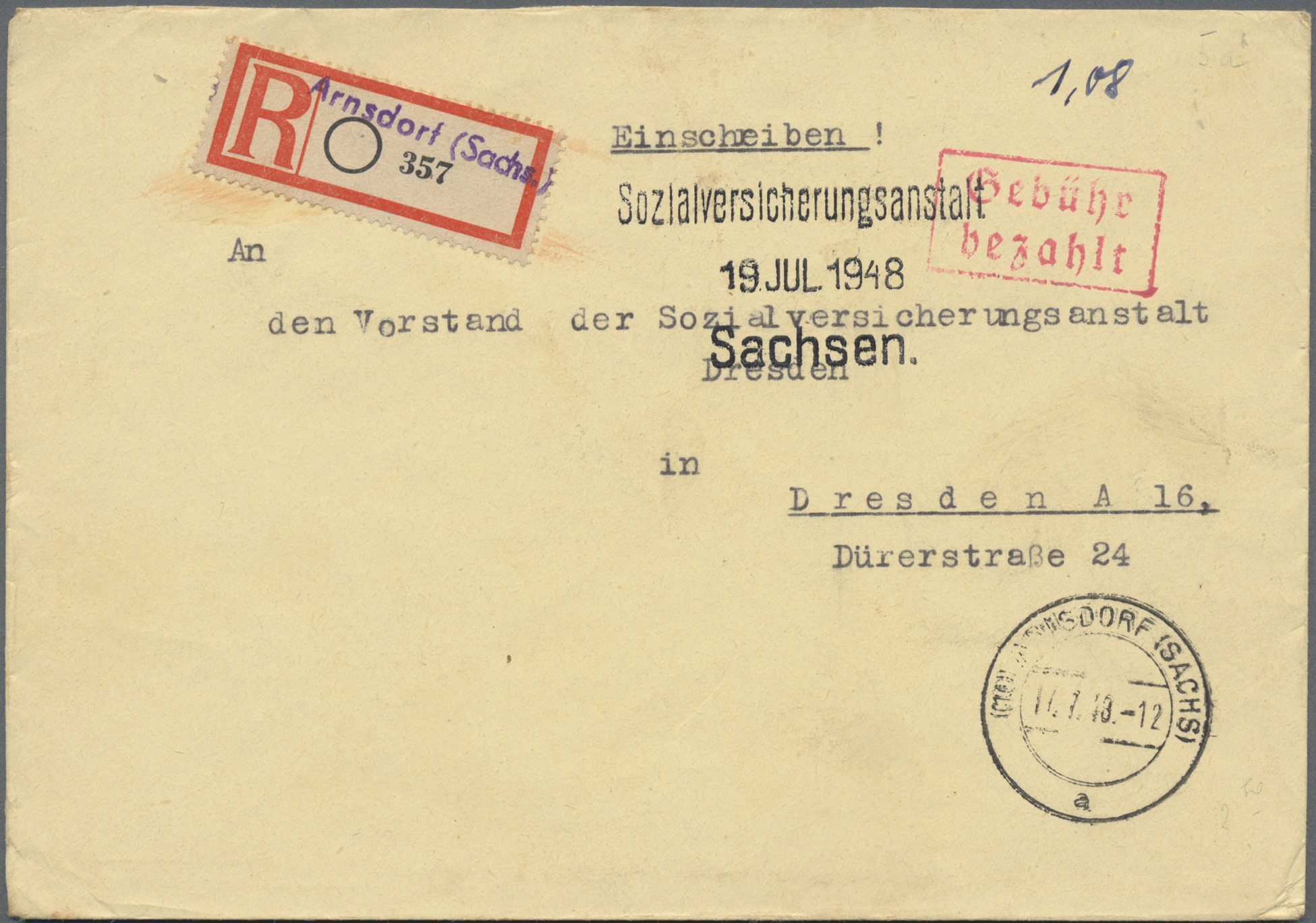 Lot 37258 - Alliierte Besetzung - Gebühr Bezahlt  -  Auktionshaus Christoph Gärtner GmbH & Co. KG Sale #44 Collections Germany