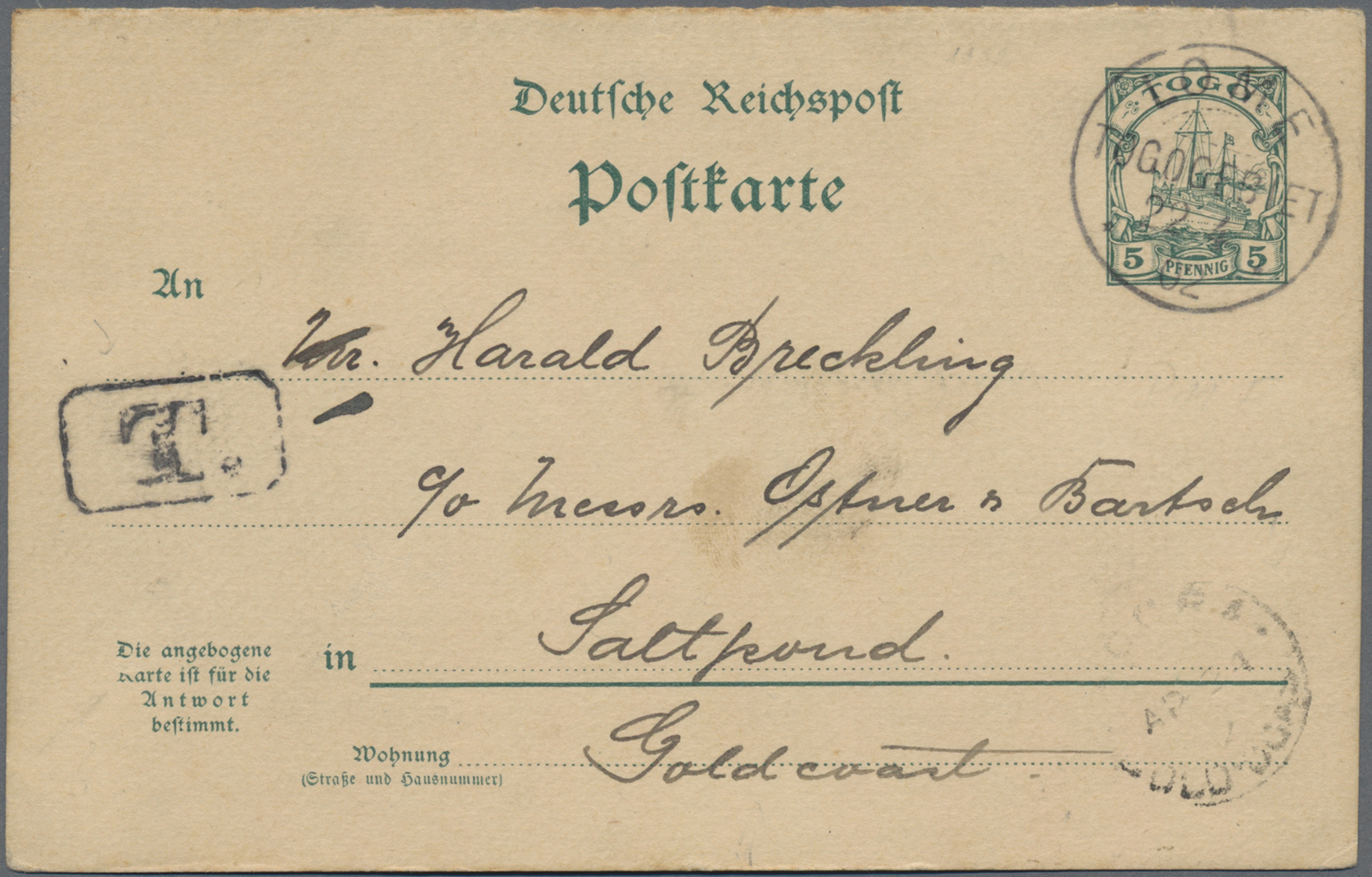 Lot 16524 - Deutsche Kolonien - Togo - Ganzsachen  -  Auktionshaus Christoph Gärtner GmbH & Co. KG Sale #47 Single lots: Germany, Picture Postcards