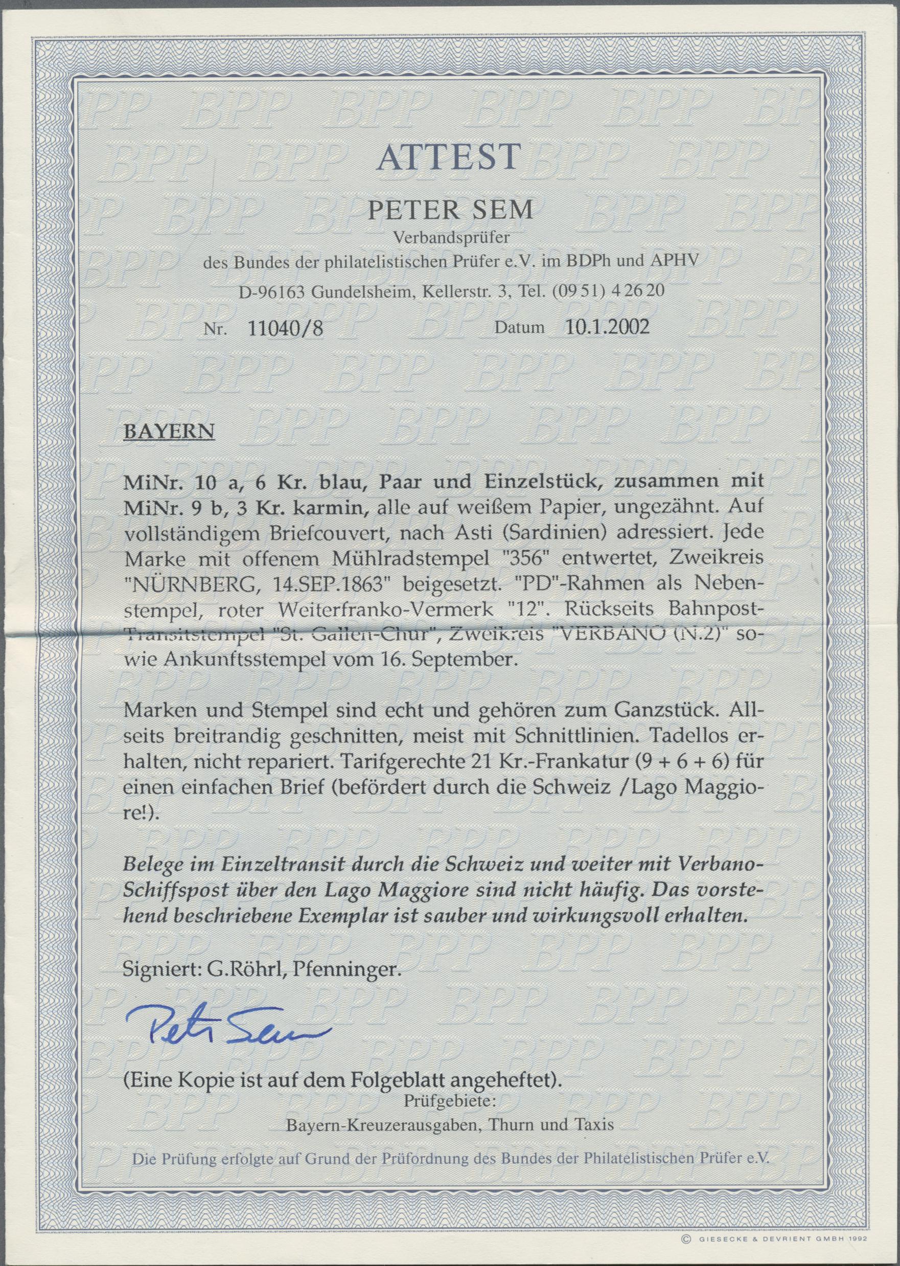 Lot 36178 - Bayern - Marken und Briefe  -  Auktionshaus Christoph Gärtner GmbH & Co. KG Sale #44 Collections Germany