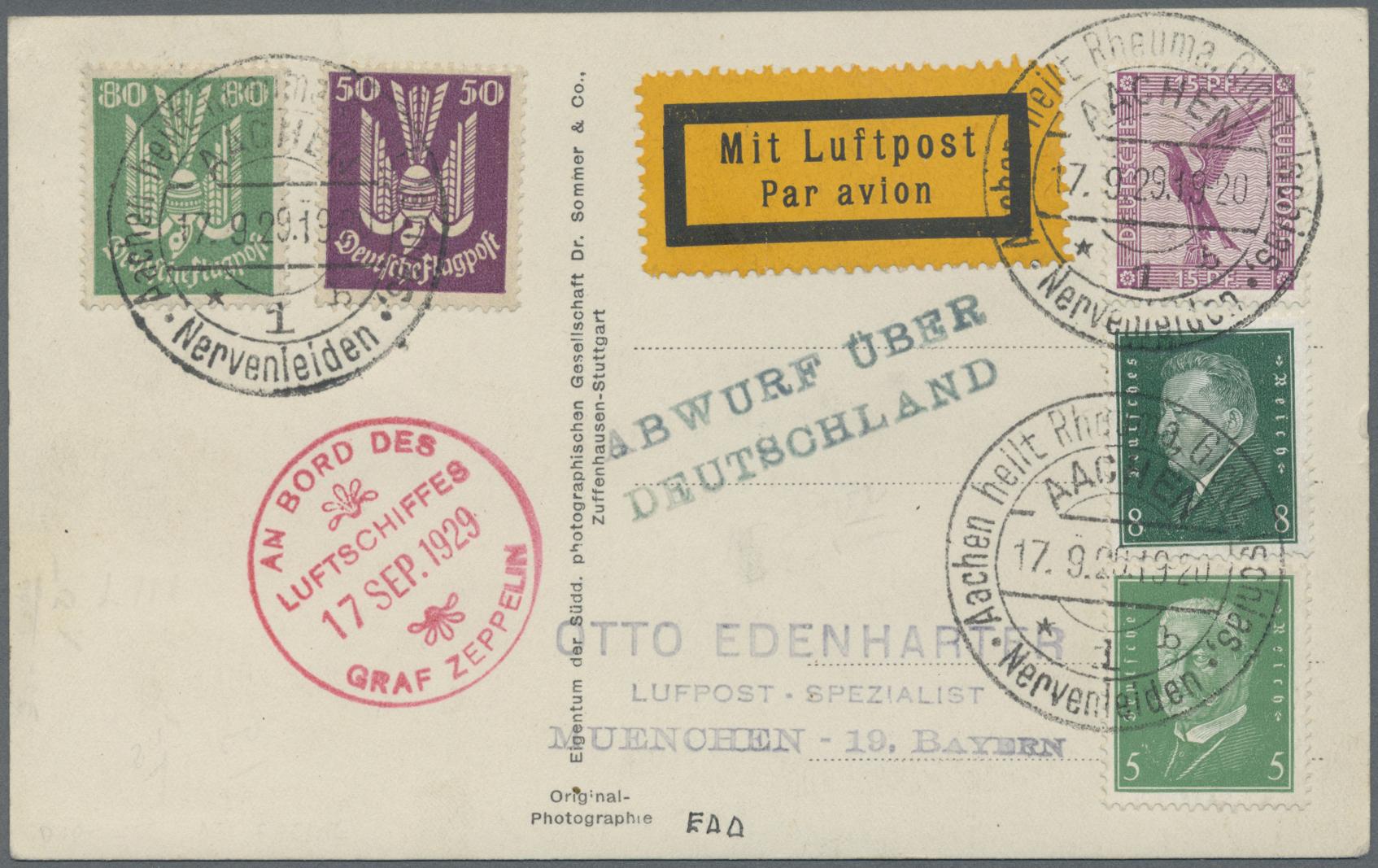 Lot 10651 - zeppelinpost deutschland  -  Auktionshaus Christoph Gärtner GmbH & Co. KG Sale #46 Single lots Asia, Thematics, Overseas, Europe …