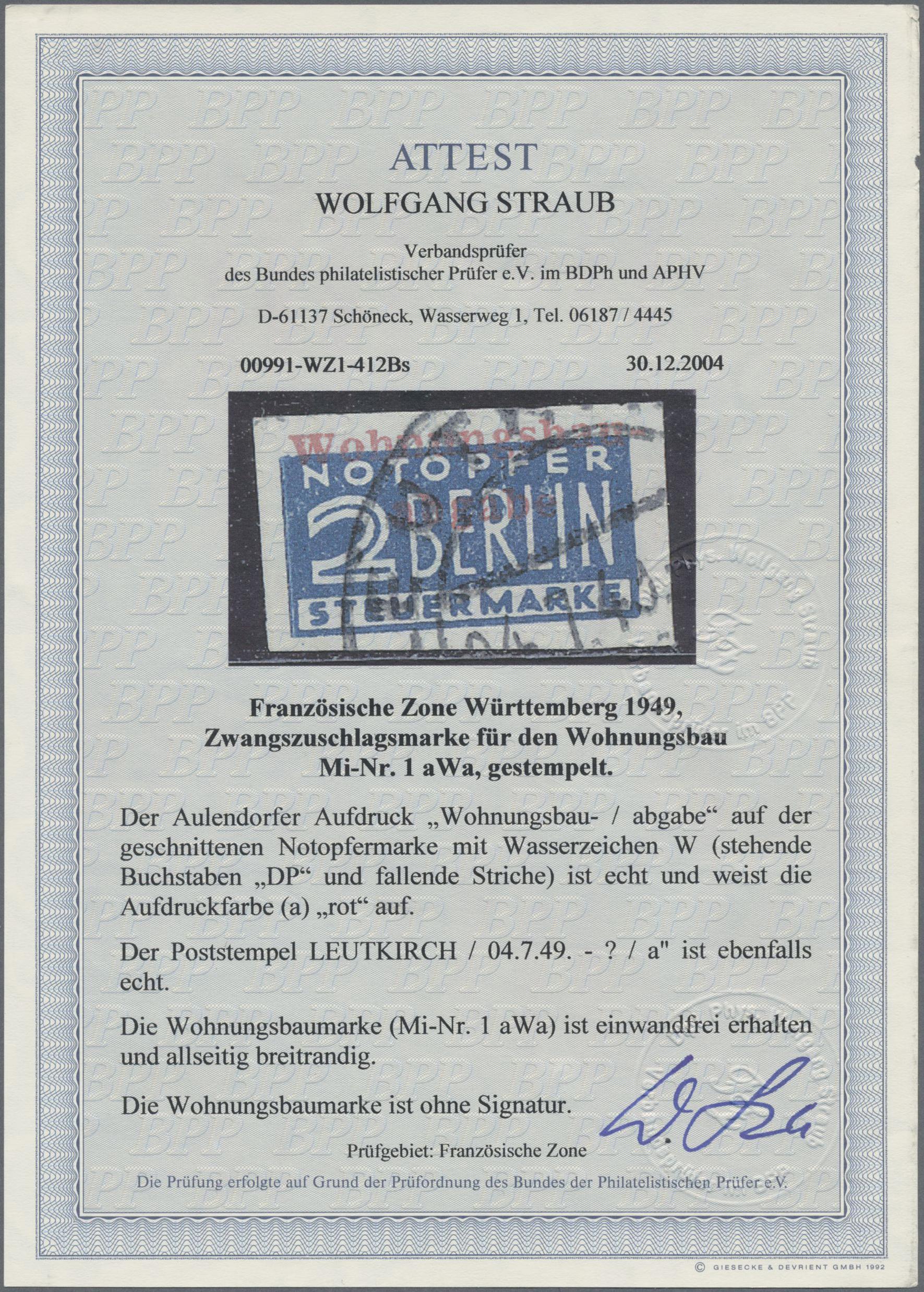 Lot 37511 - Französische Zone - Württemberg - Wohnungsbau-Abgabe  -  Auktionshaus Christoph Gärtner GmbH & Co. KG Sale #44 Collections Germany