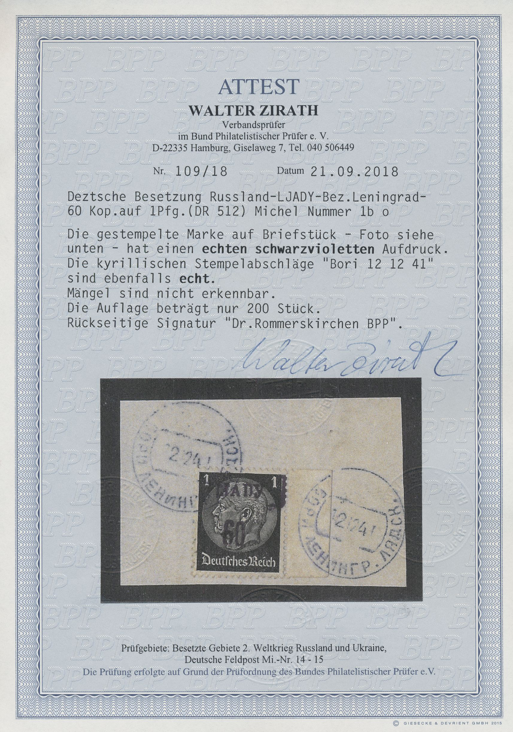 Lot 00202 - Dt. Besetzung II WK - Russland - Ljady  -  Auktionshaus Christoph Gärtner GmbH & Co. KG Intenational Rarities and contains lots from the collection of Peter Zgonc