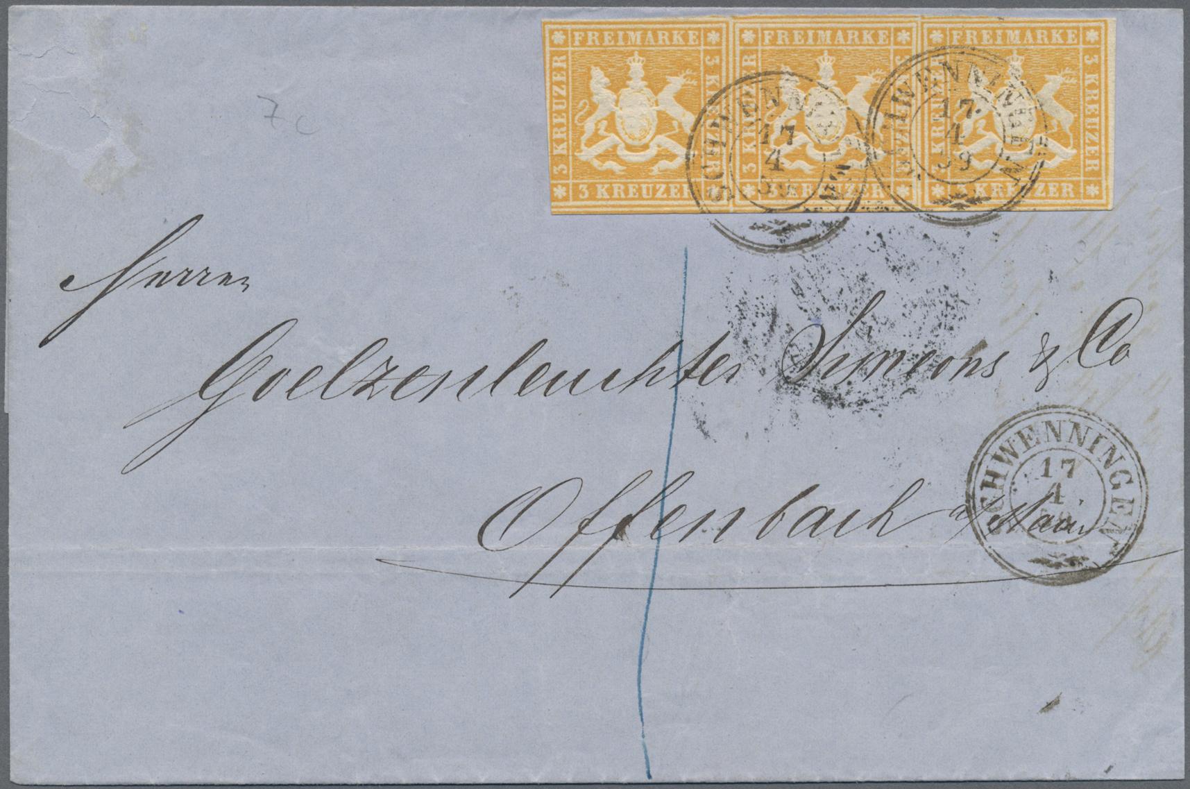 Lot 35181 - Württemberg - Marken und Briefe  -  Auktionshaus Christoph Gärtner GmbH & Co. KG Sale #44 Collections Germany