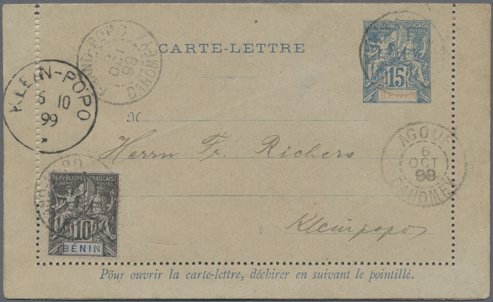 Lot 08101 - Benin  -  Auktionshaus Christoph Gärtner GmbH & Co. KG Sale #49 Single lots Asia, Thematics, Oversea, Europe, Old German States, Third Reich, German Colonies and the Federal Republic of Germany