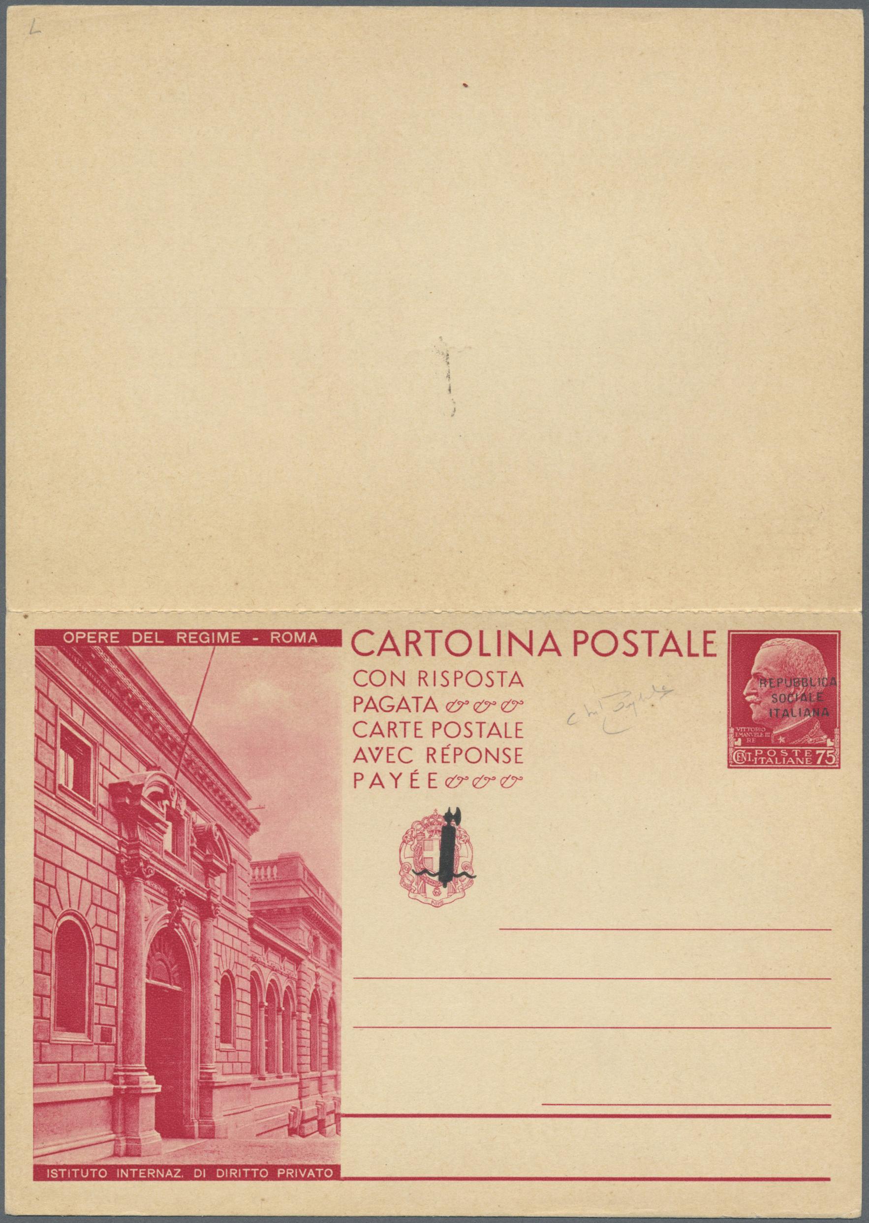 Lot 17200 - Italien - Ganzsachen  -  Auktionshaus Christoph Gärtner GmbH & Co. KG Single lots Philately Overseas & Europe. Auction #39 Day 4