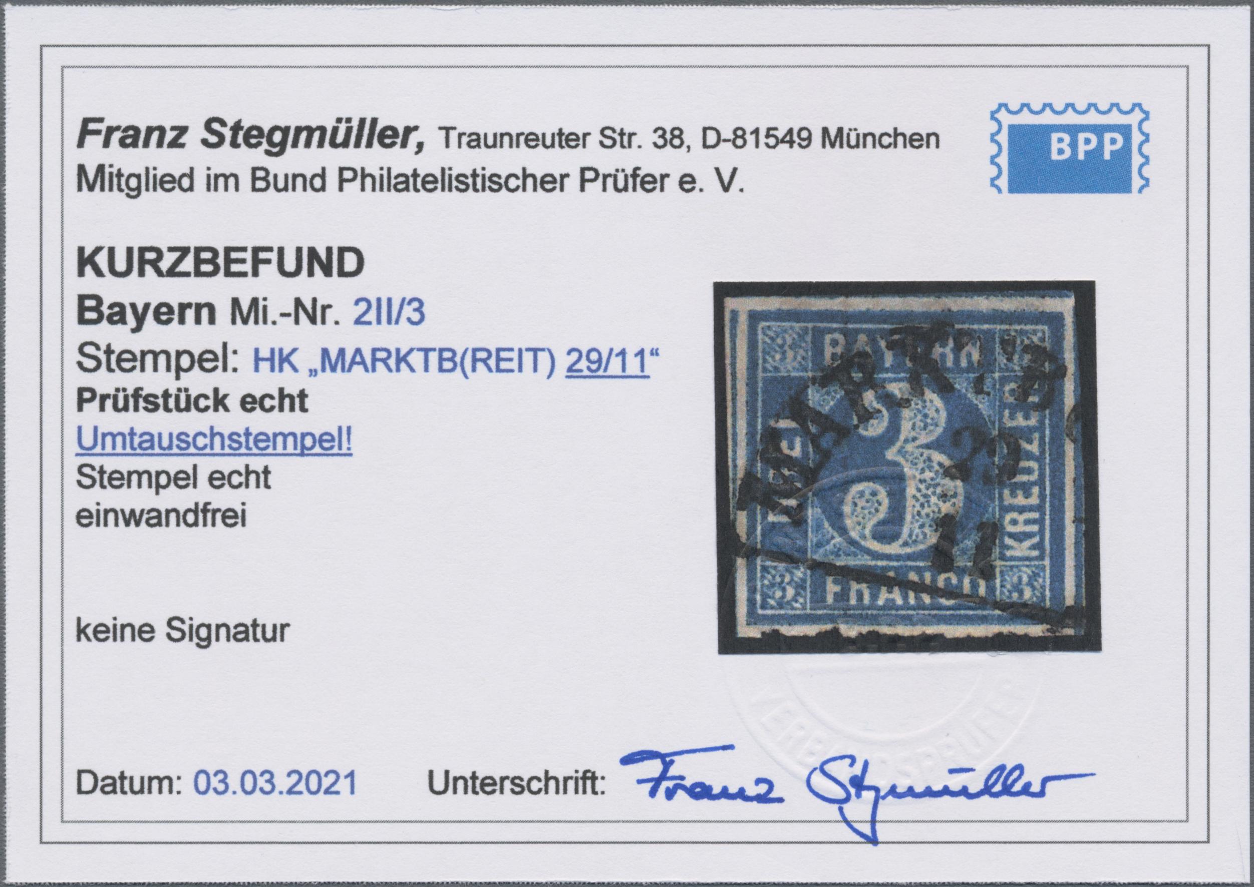 Lot 02054 - Bayern - Marken und Briefe  -  Auktionshaus Christoph Gärtner GmbH & Co. KG 50th Auction Anniversary Auction - Day 7