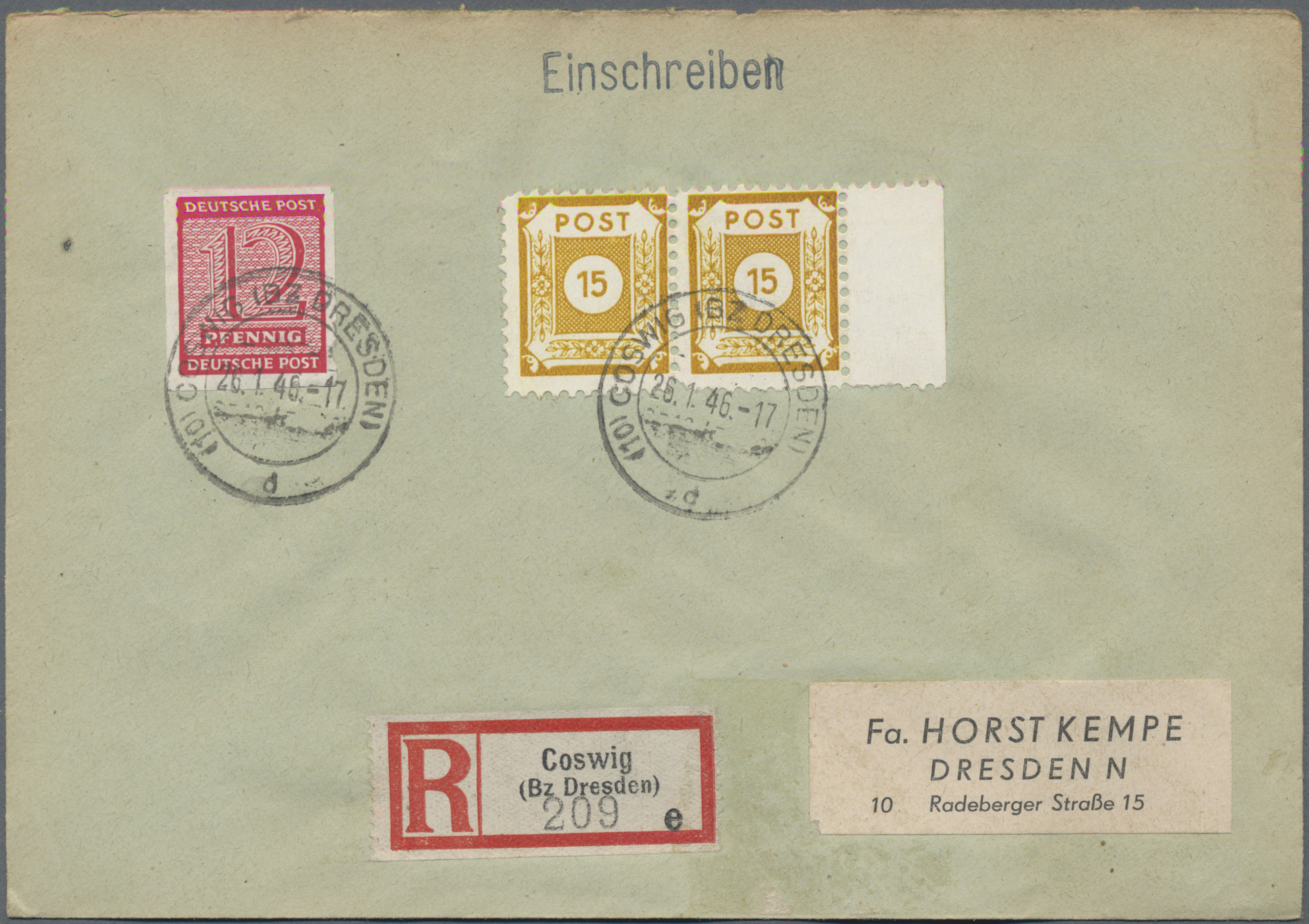 Lot 35263 - Sowjetische Zone - Ost-Sachsen  -  Auktionshaus Christoph Gärtner GmbH & Co. KG Sale #44 Collections Germany
