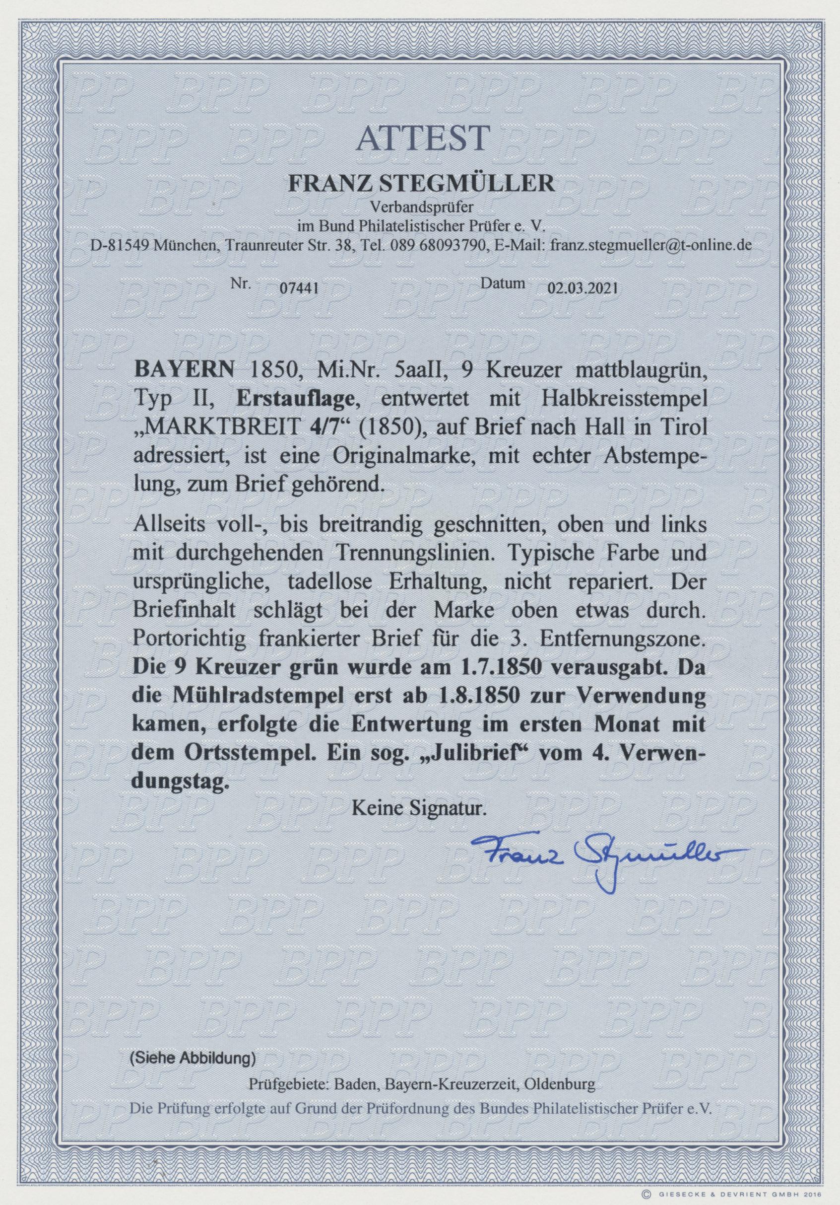 Lot 02156 - Bayern - Marken und Briefe  -  Auktionshaus Christoph Gärtner GmbH & Co. KG 50th Auction Anniversary Auction - Day 7